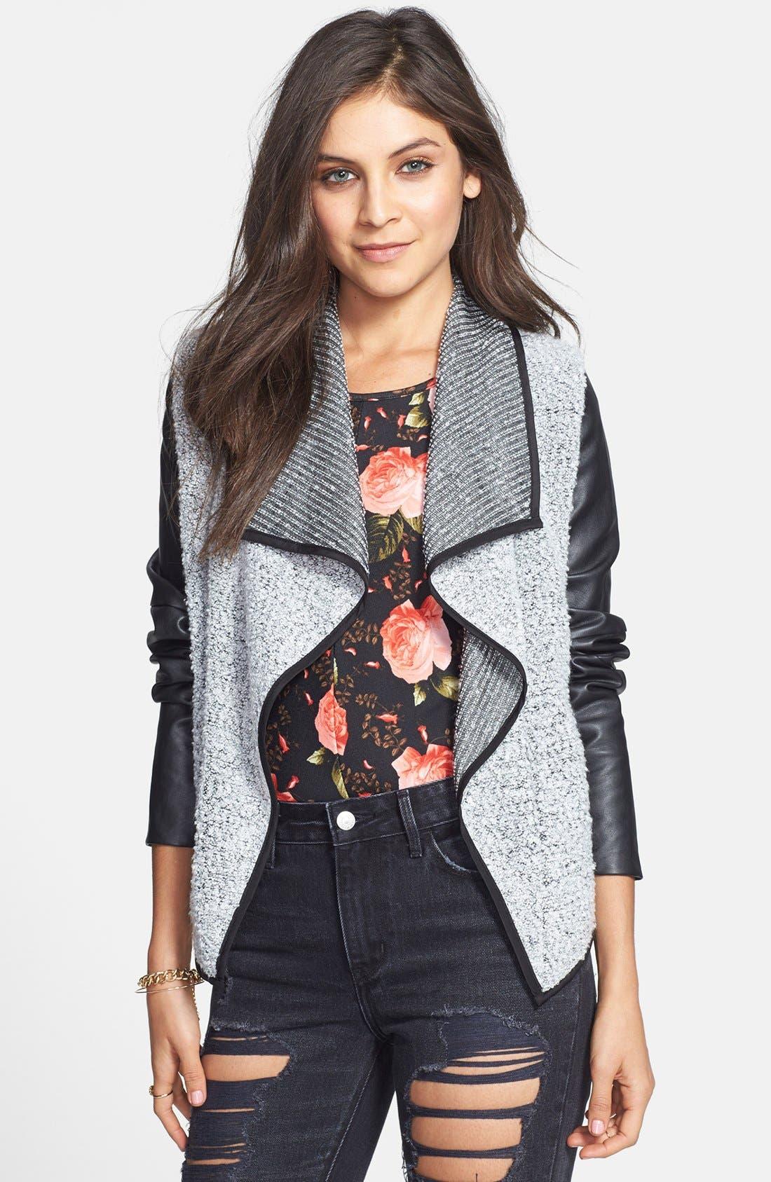 Alternate Image 1 Selected - Coffee Shop Drape Front Faux Leather & Bouclé Jacket (Juniors)