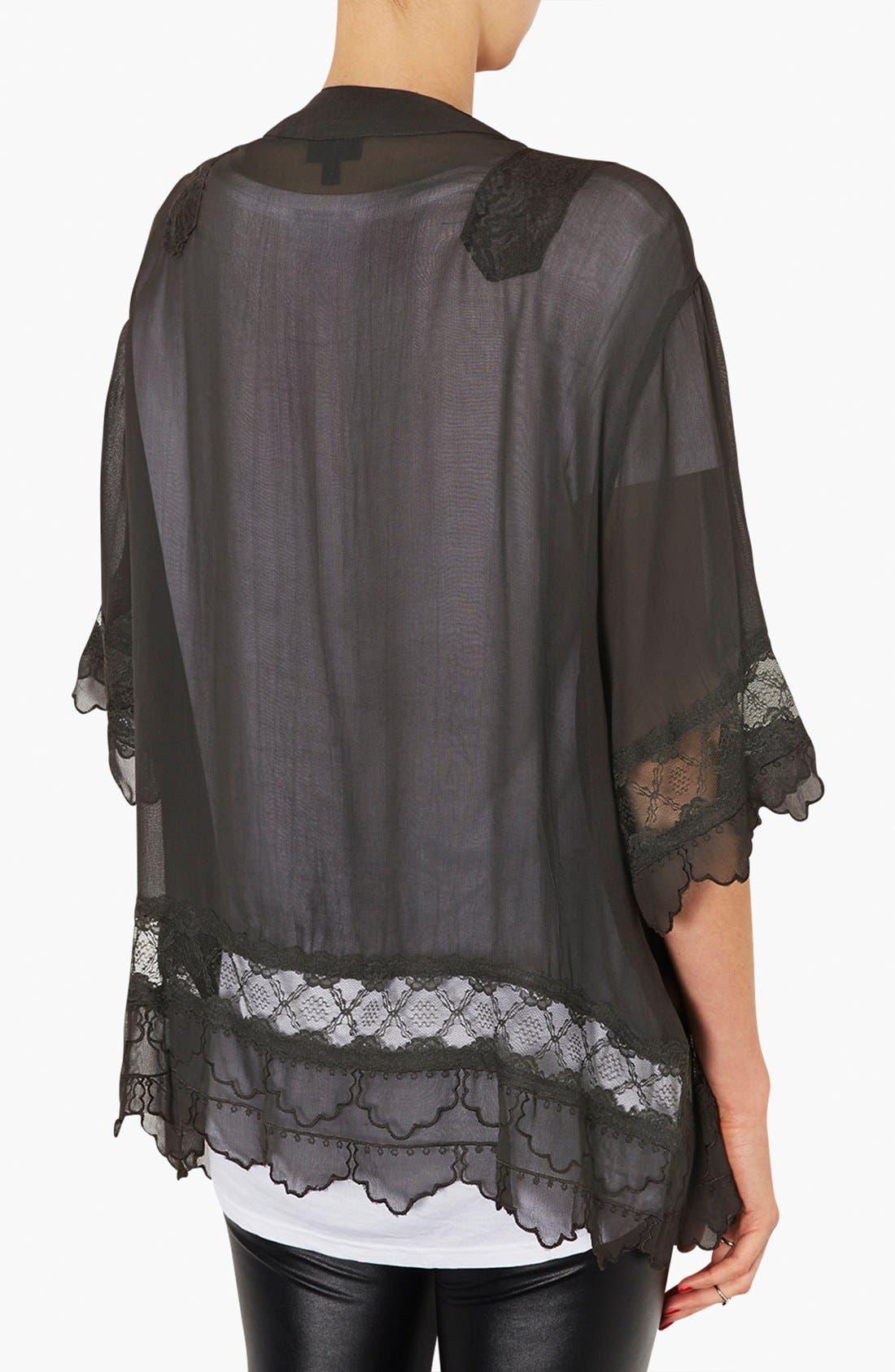 Alternate Image 2  - Topshop Lace Inset Kimono Jacket