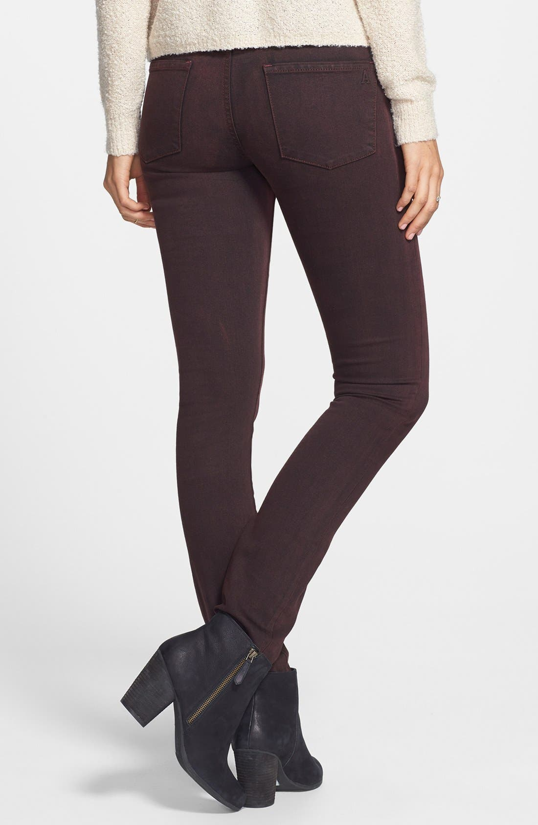 Alternate Image 2  - Articles of Society 'Mya' Overdyed Skinny Jeans (Deep Red)