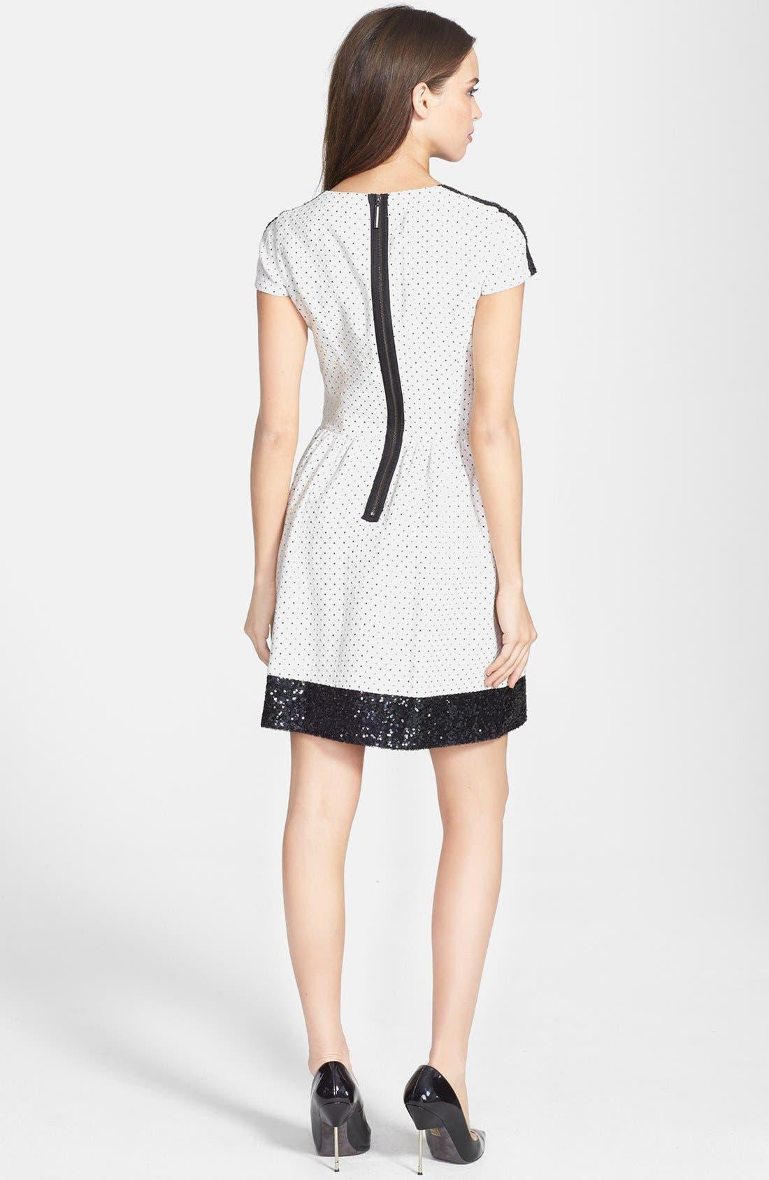 Alternate Image 2  - kensie Sequin Trim Jacquard Dot Dress