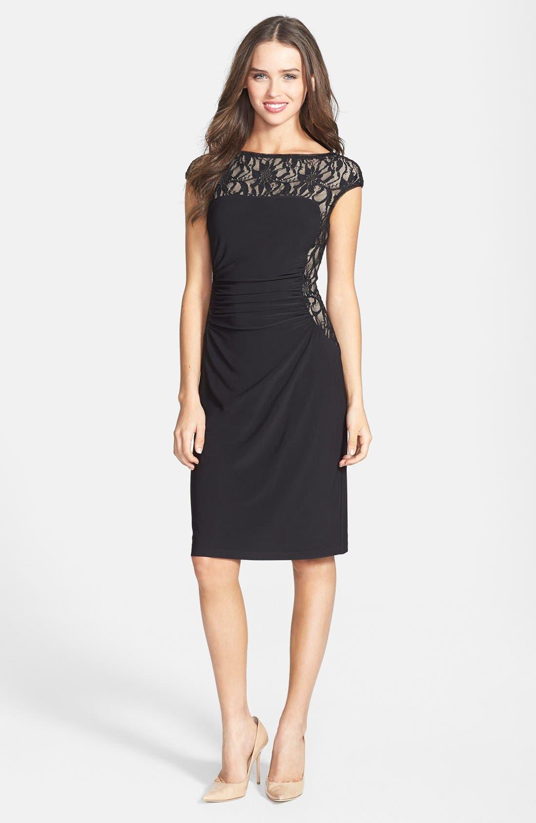 Main Image - Lauren Ralph Lauren Lace & Jersey Sheath Dress