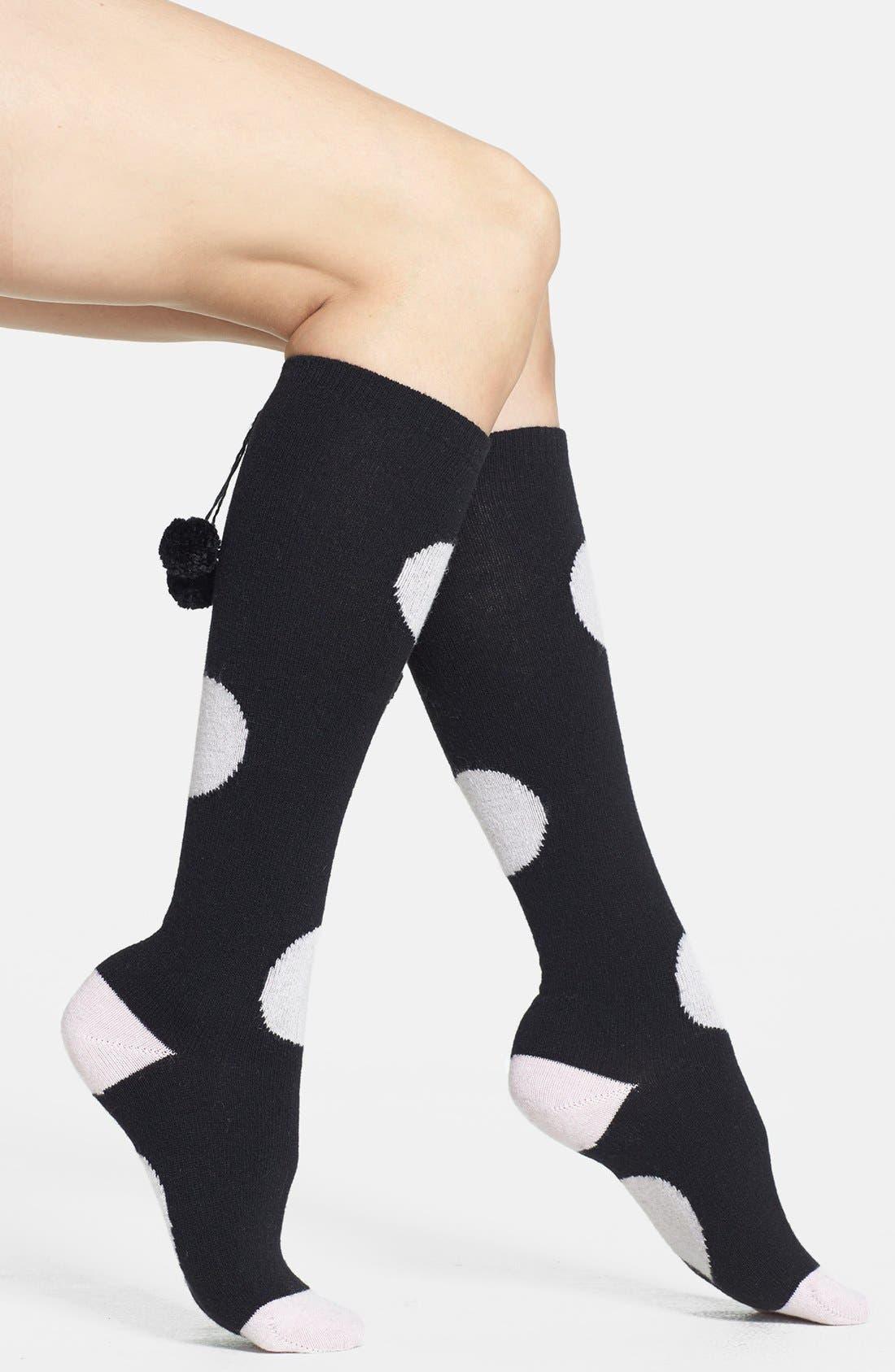 Main Image - kate spade new york 'holiday - big spot' pompom knee high socks