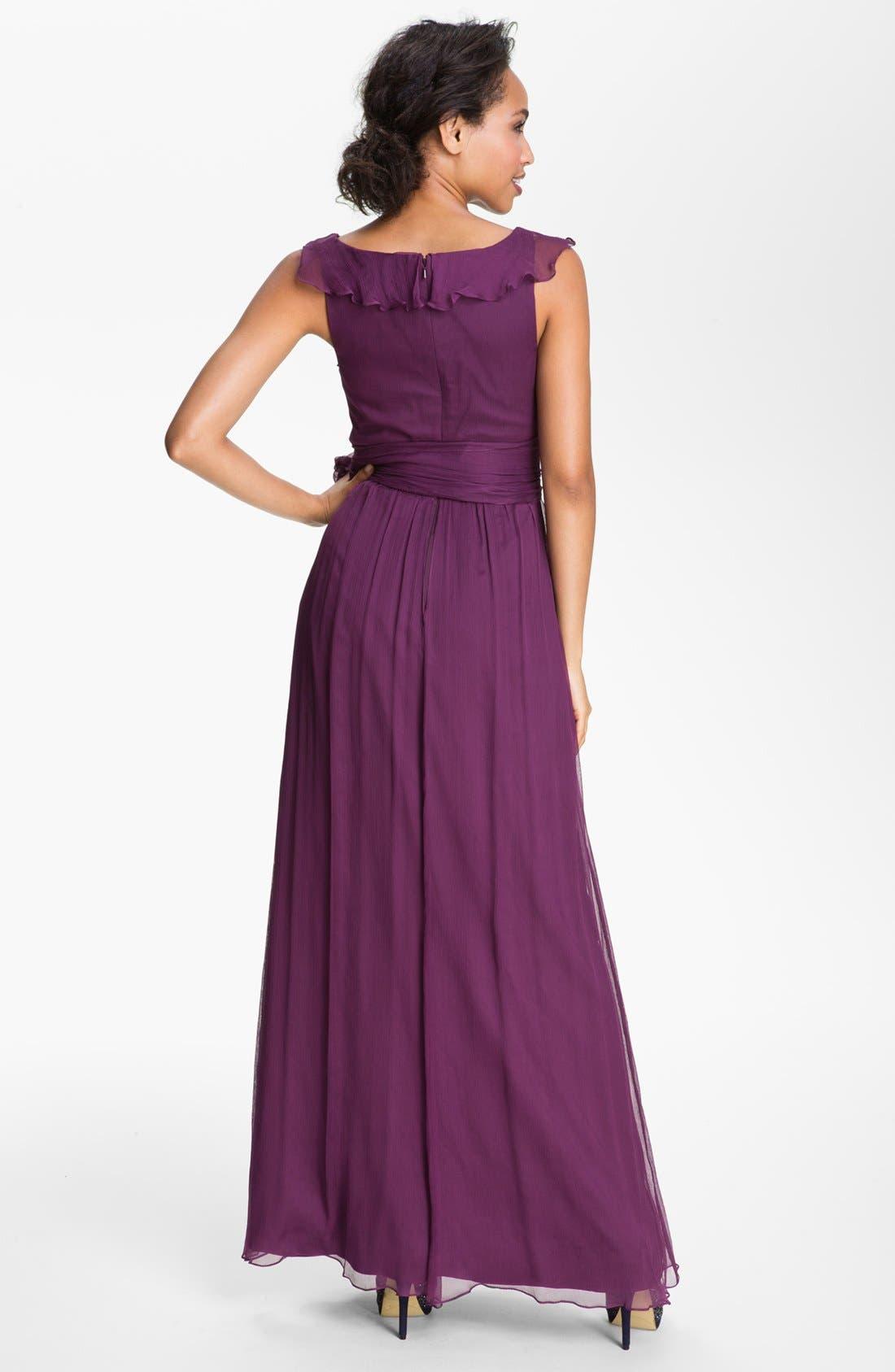 Alternate Image 2  - Amsale Ruffle Silk Chiffon Gown
