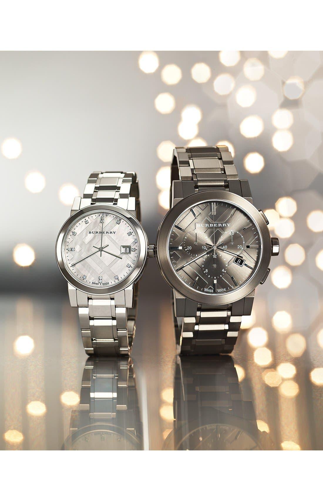 Alternate Image 6  - Burberry Round Diamond Dial Bracelet Watch, 34mm