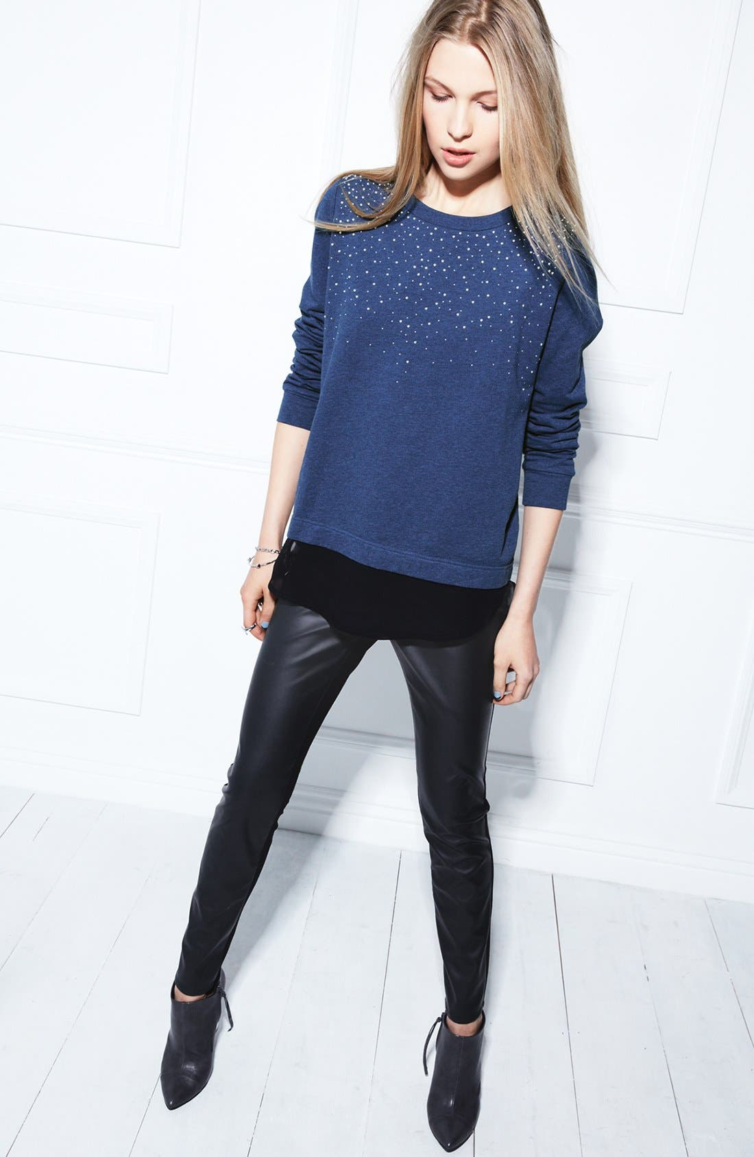 Alternate Image 5  - Two by Vince Camuto Embellished Chiffon Shirttail Sweatshirt