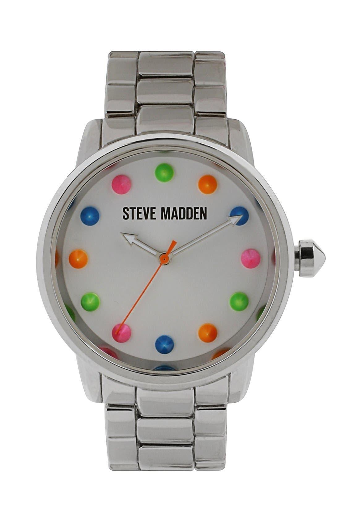 Main Image - Steve Madden Round Dial Bracelet Watch, 40mm