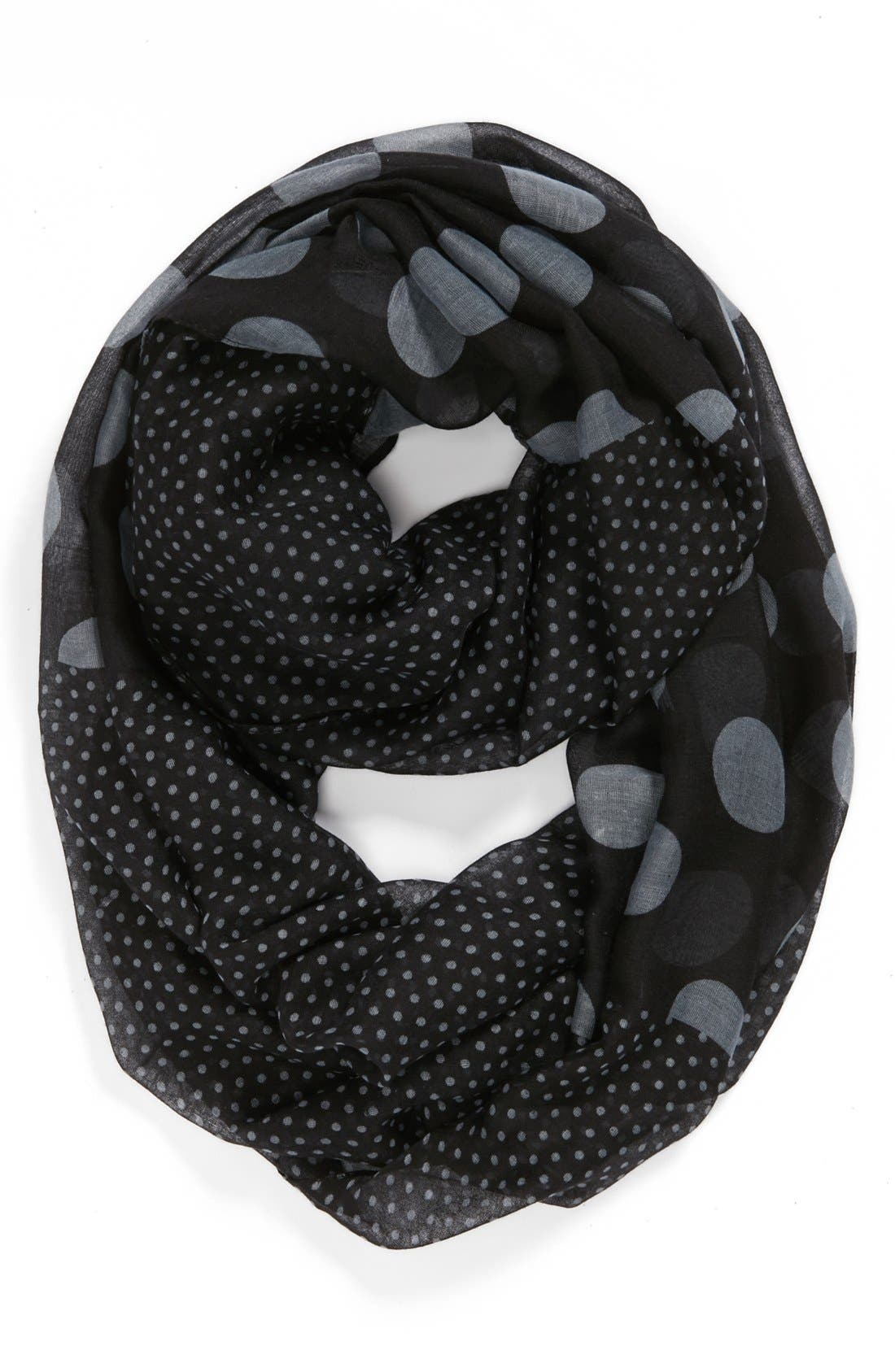 Alternate Image 1 Selected - David & Young Polka Dot Infinity Scarf (Juniors)