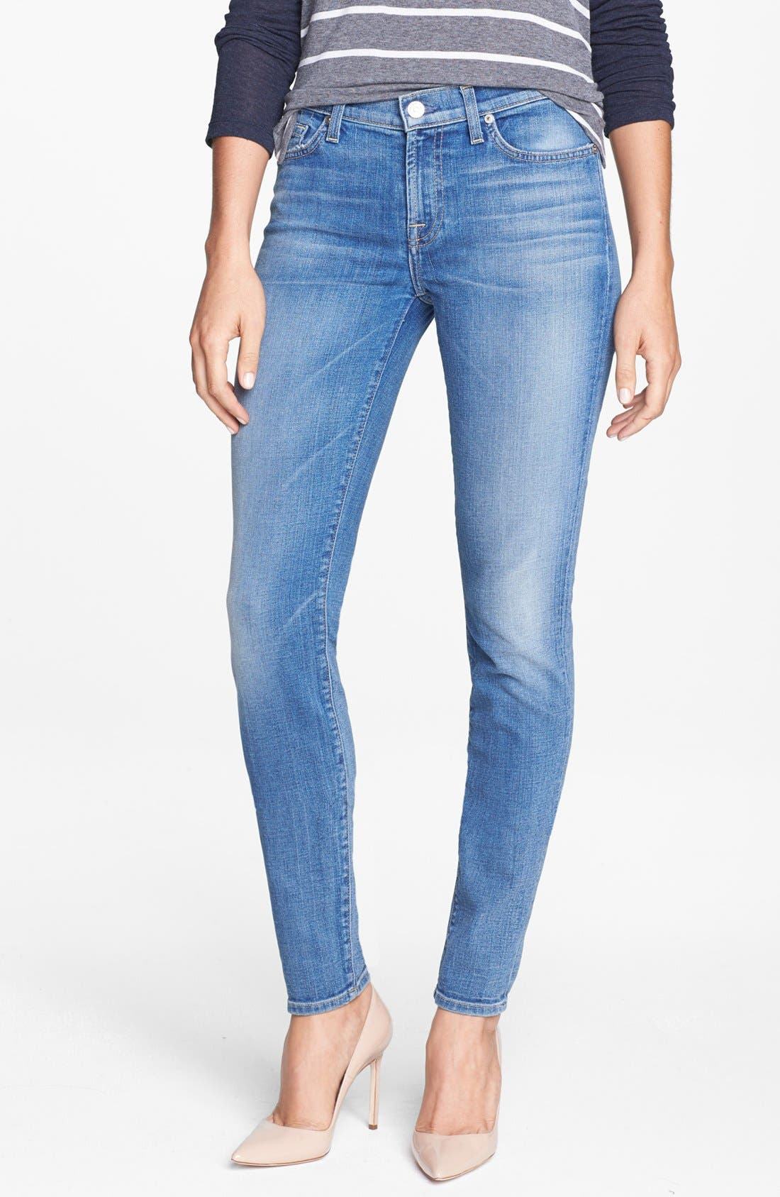 Main Image - 7 For All Mankind® Faded Skinny Jeans (Bright Red Cast Blue)