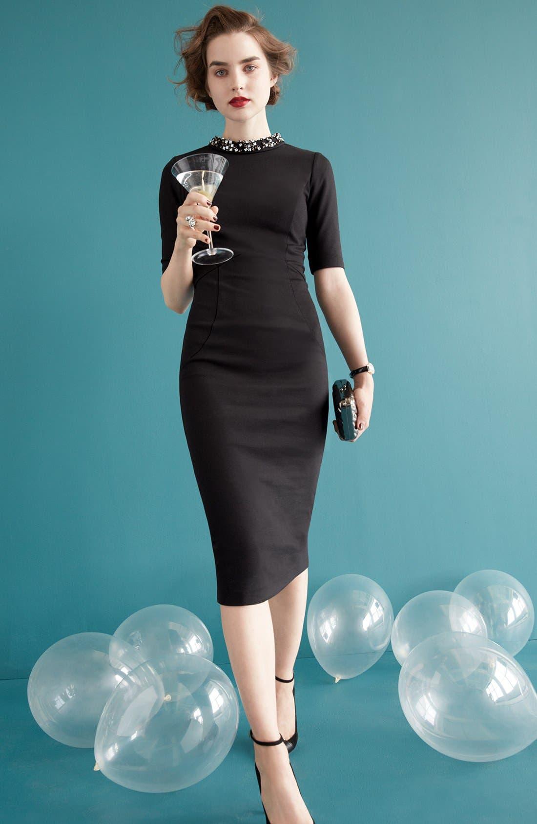 Alternate Image 4  - Ted Baker London Stretch Knit Midi Dress