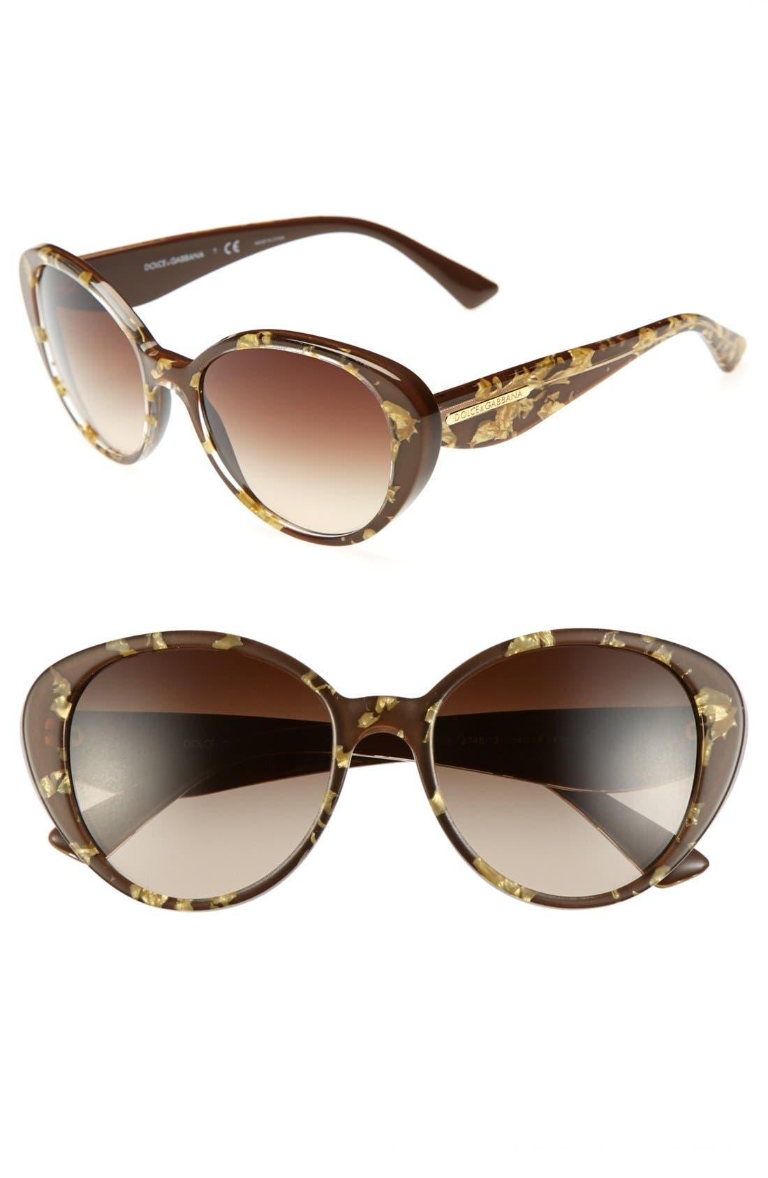 Alternate Image 1 Selected - Dolce&Gabbana 'Gold Leaf' 54mm Sunglasses
