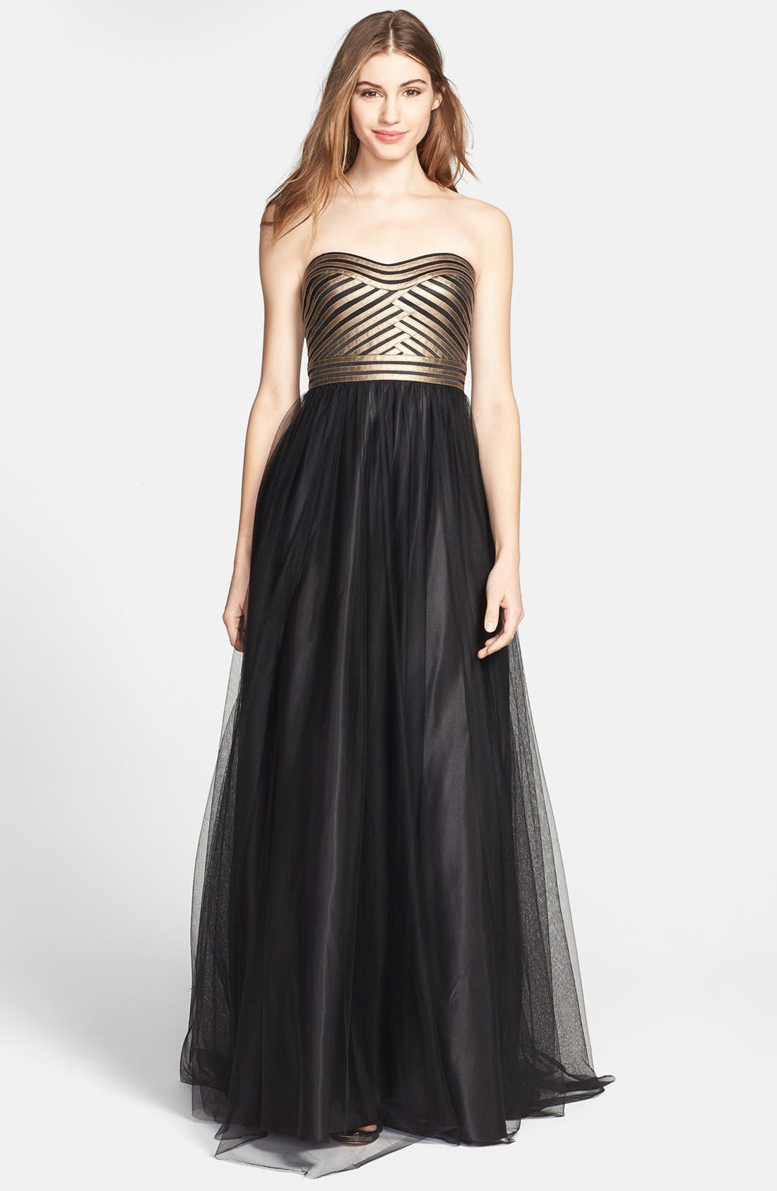 Main Image - Aidan Mattox Strapless Fitted Bodice Mesh Gown