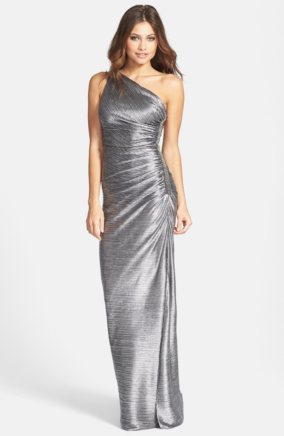 Alternate Image 1 Selected - Laundry by Shelli Segal Embellished Metallic Foil One-Shoulder Gown