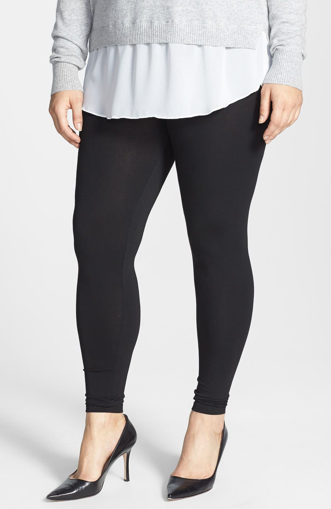 Alternate Image 1 Selected - Evans Stretch Knit Leggings (Plus Size)