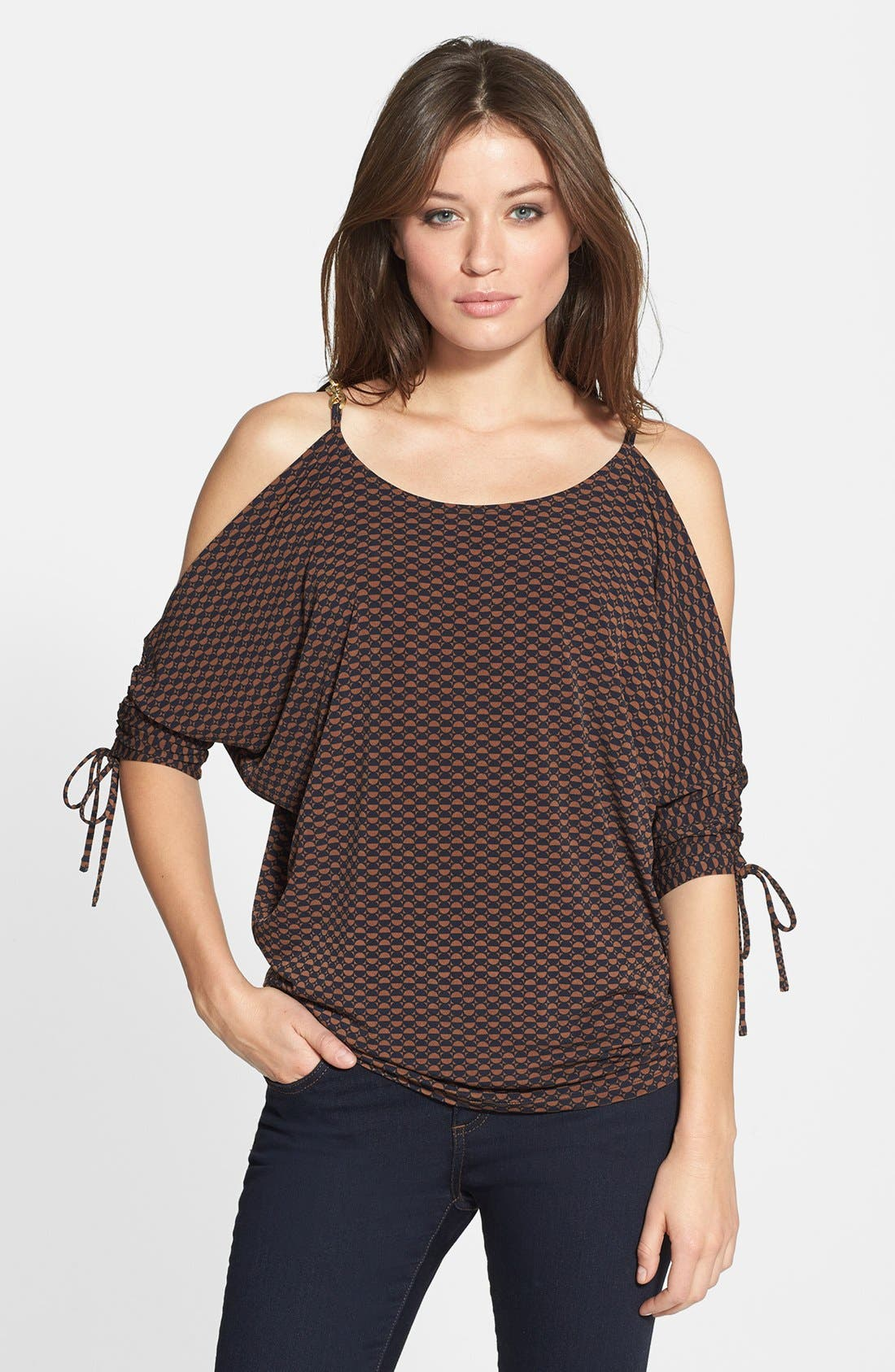 Alternate Image 1 Selected - MICHAEL Michael Kors 'Cold Shoulder' Ruched Sleeve Top
