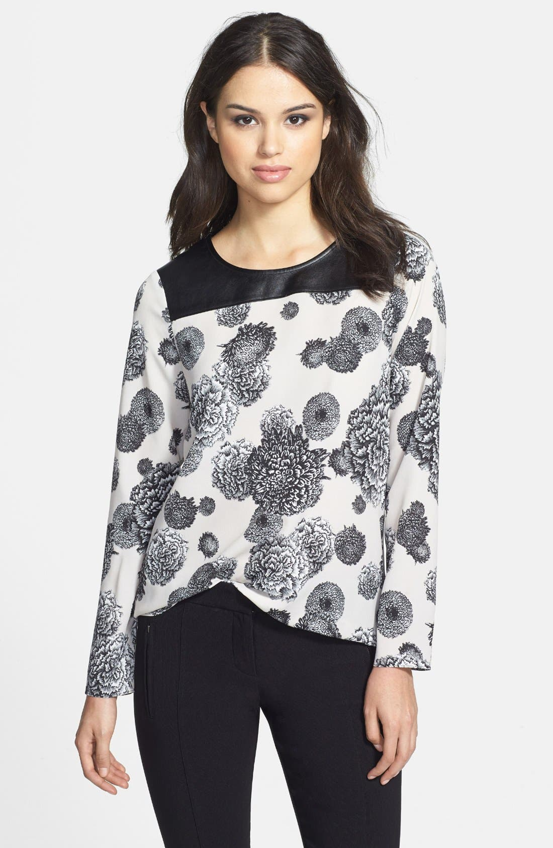 Alternate Image 1 Selected - DKNYC Faux Leather Trim Blouse