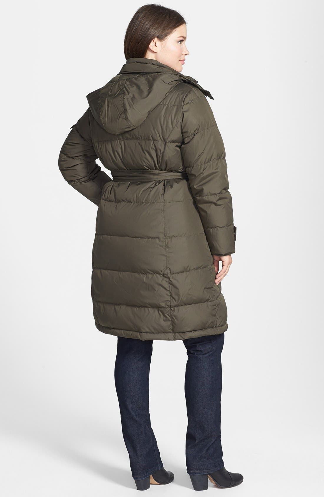 Alternate Image 2  - Ellen Tracy Belted Front Zip Down Coat with Detachable Hood (Plus Size)