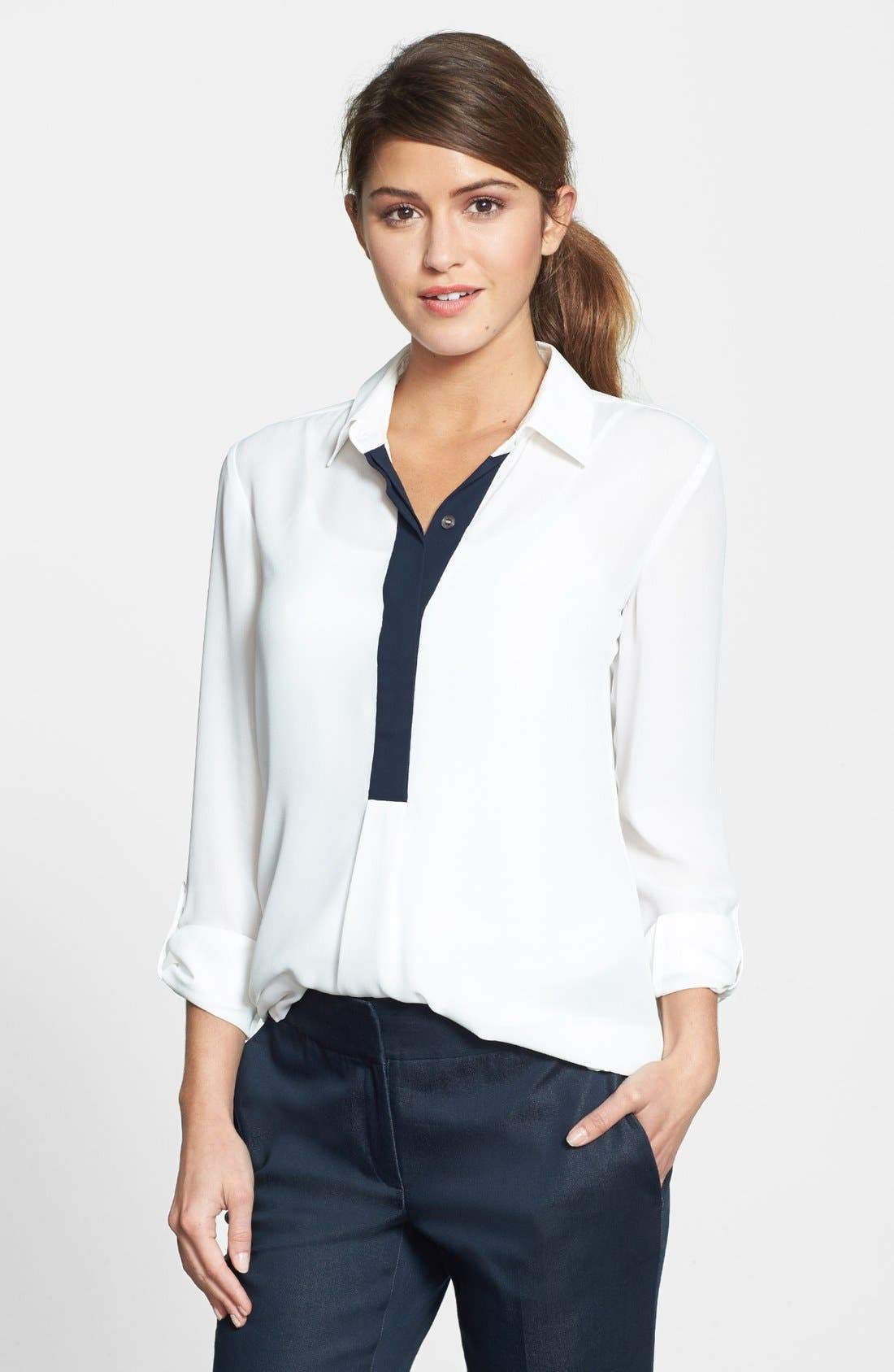 Alternate Image 1 Selected - Vince Camuto Contrast Trim Roll Sleeve Blouse (Regular & Petite)