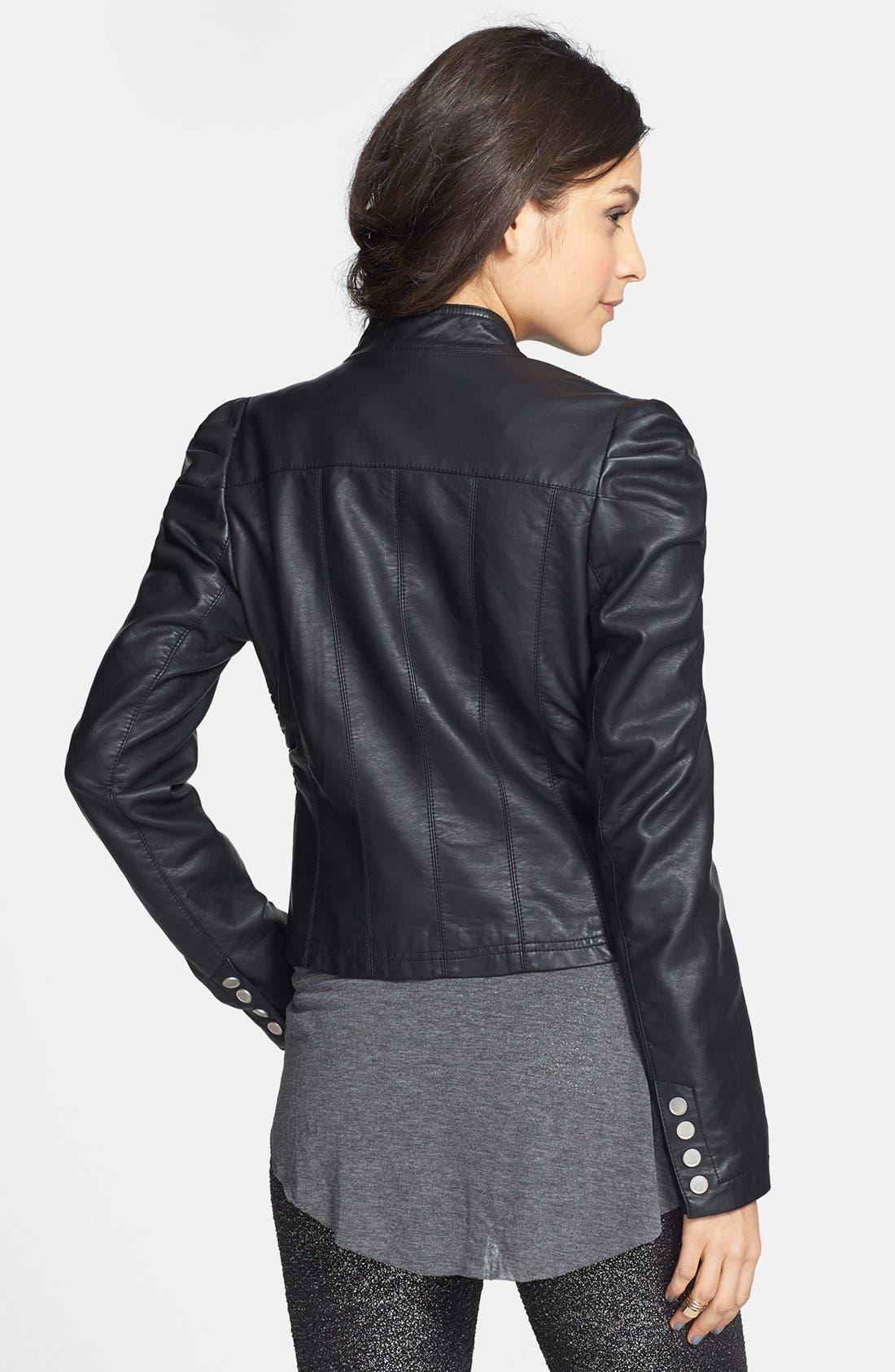 Alternate Image 2  - Jou Jou Ruched Faux Leather Jacket (Juniors)