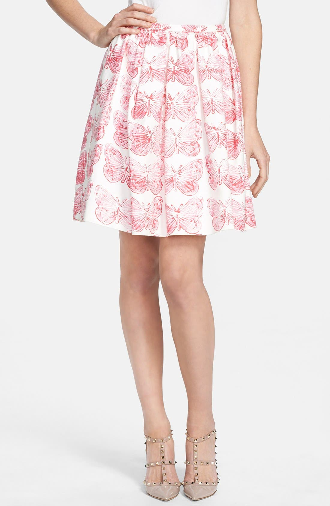 Main Image - RED Valentino Butterfly Print Pleated Skirt
