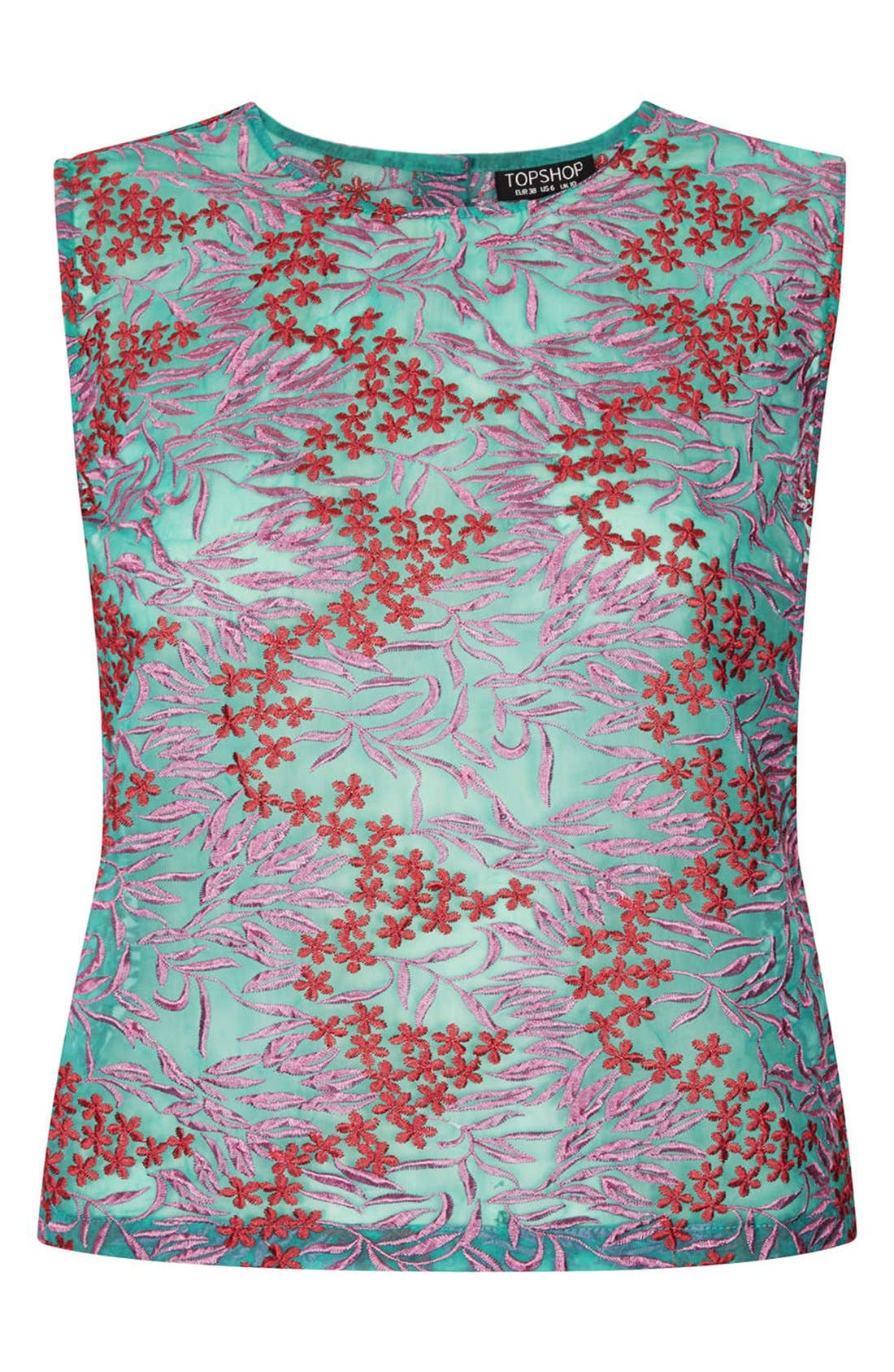 Alternate Image 3  - Topshop Floral Embroidered Shell