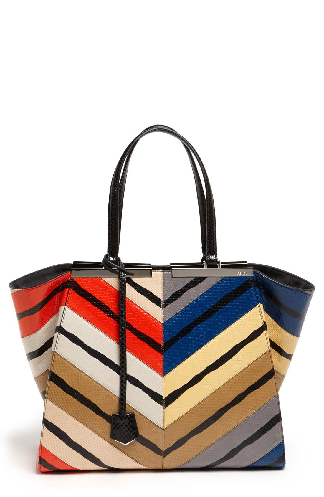 Main Image - Fendi '3Jours - Medium' Genuine Snakeskin Shopper