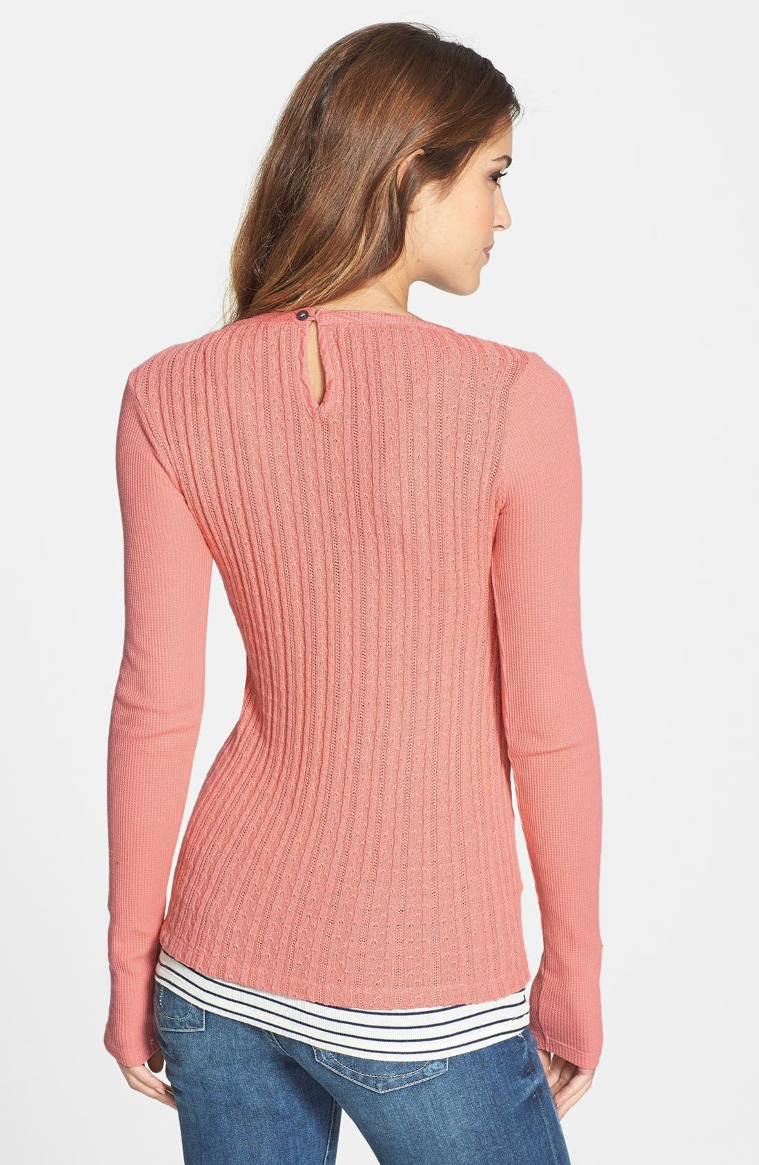 Alternate Image 2  - Lucky Brand Sweater Back Thermal Knit Top