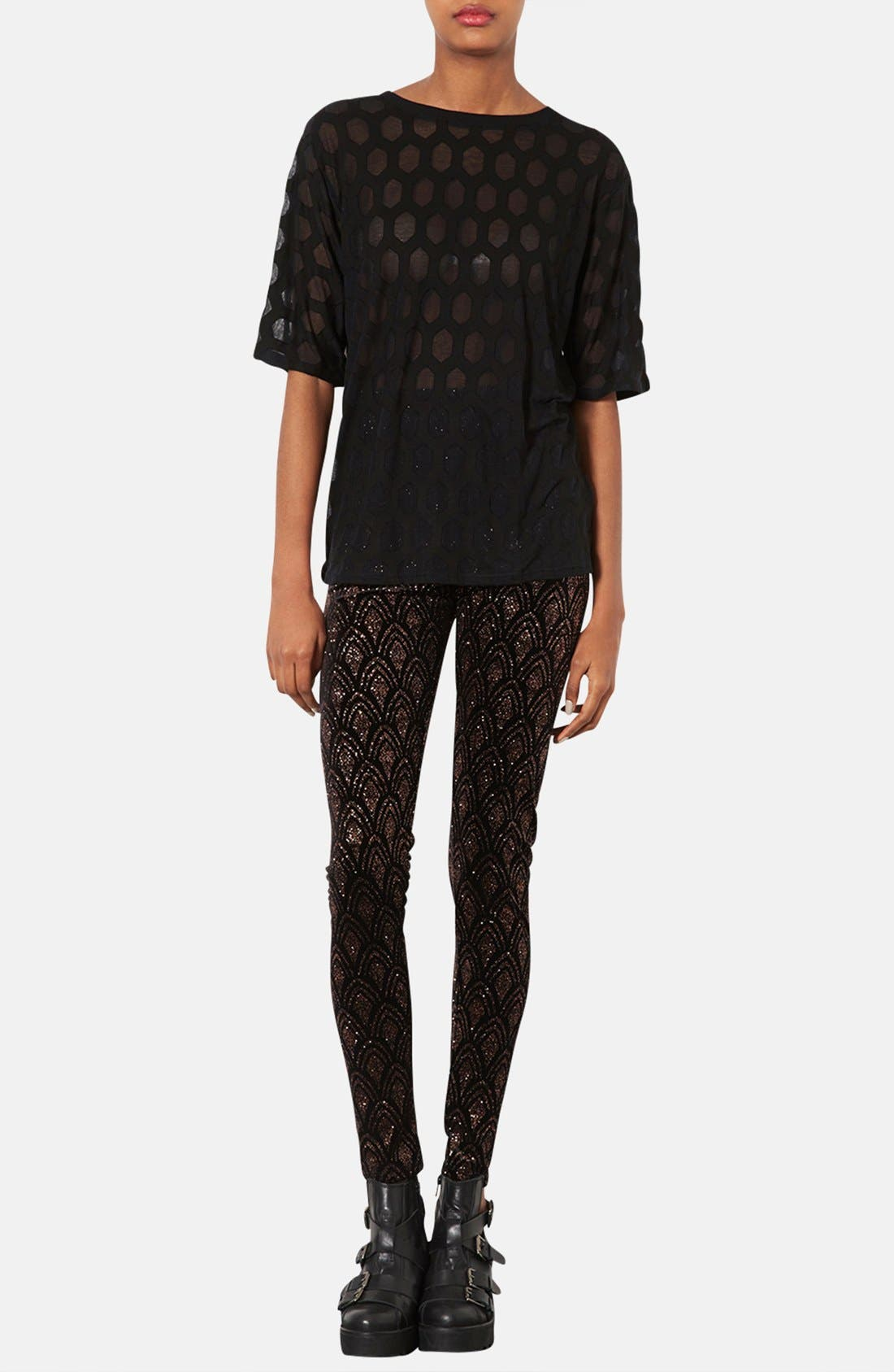 Alternate Image 4  - Topshop Patterned Burnout Tee