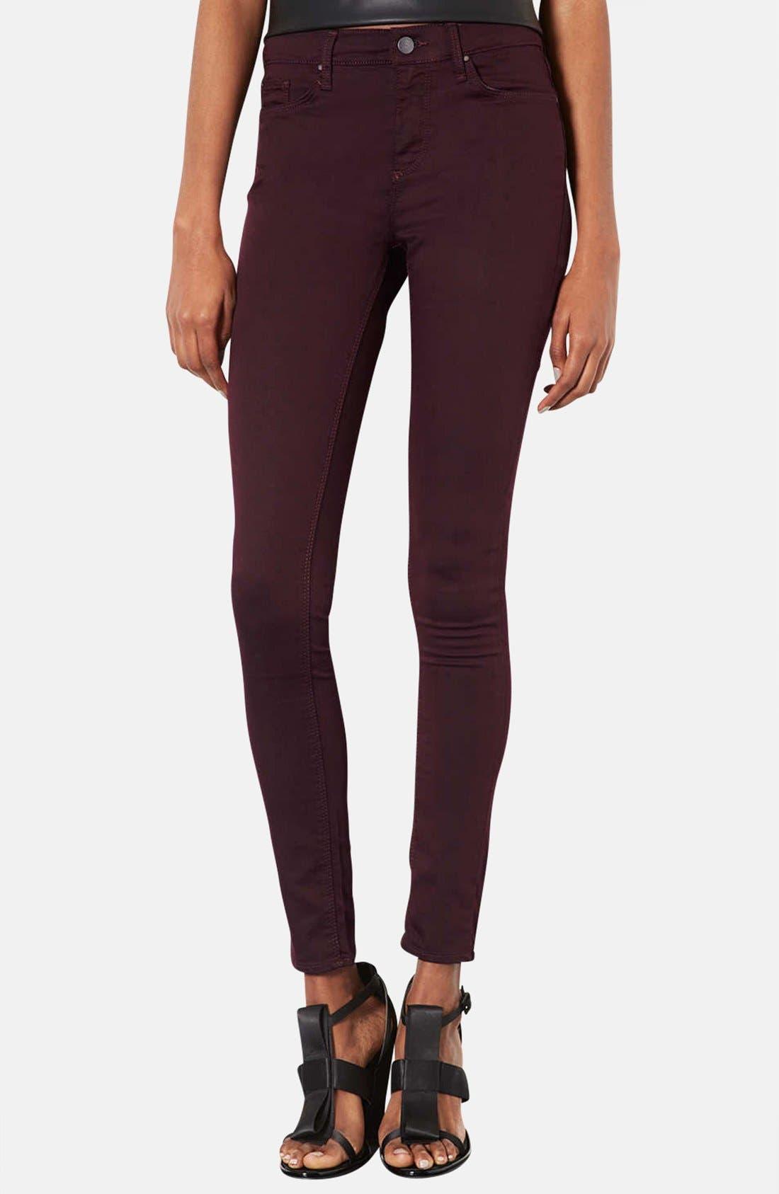 Main Image - Topshop Moto 'Leigh' Aubergine Skinny Jeans (Short)