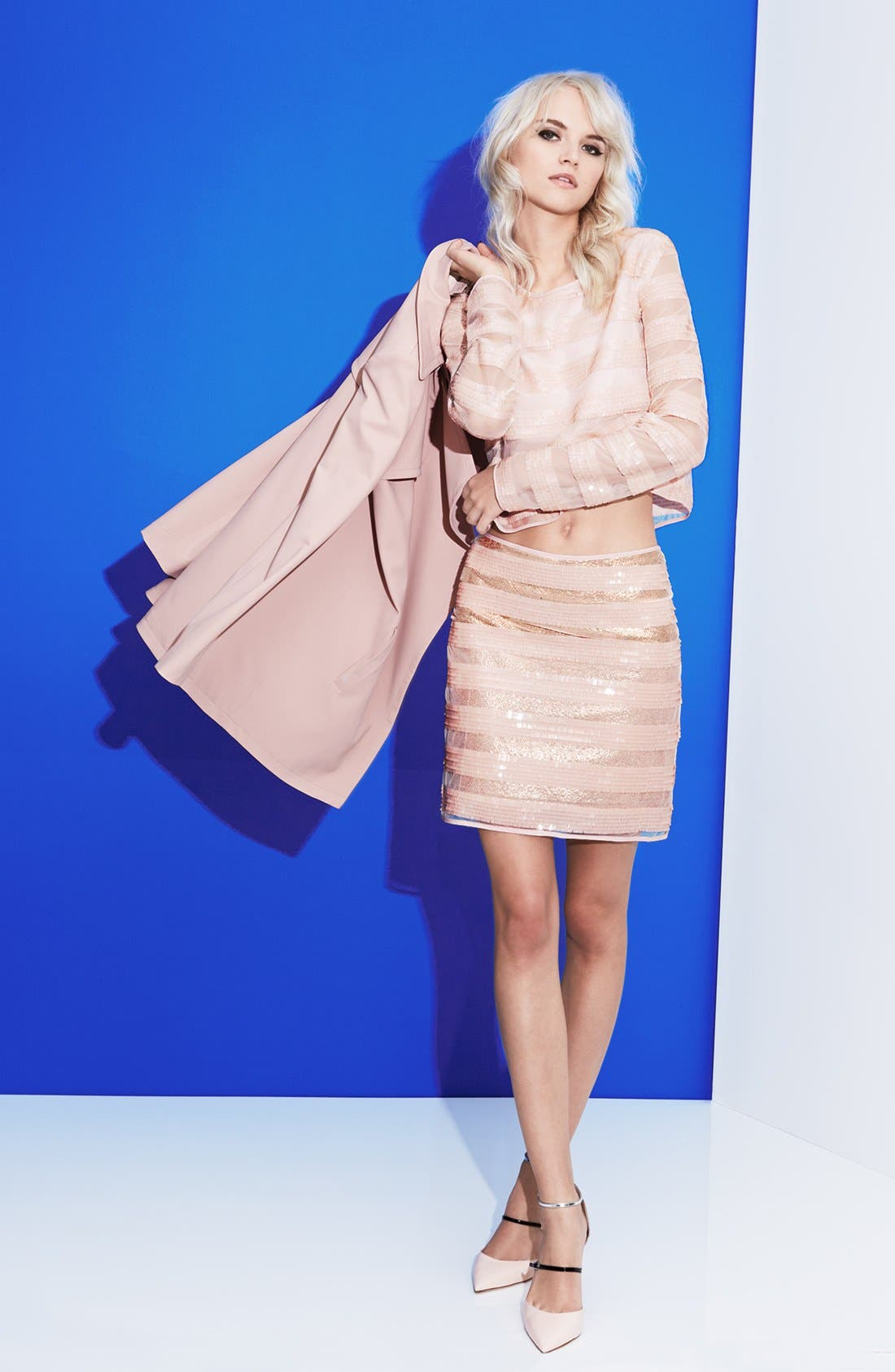 Alternate Image 1 Selected - Mural Trench Coat, MINKPINK Top & Skirt