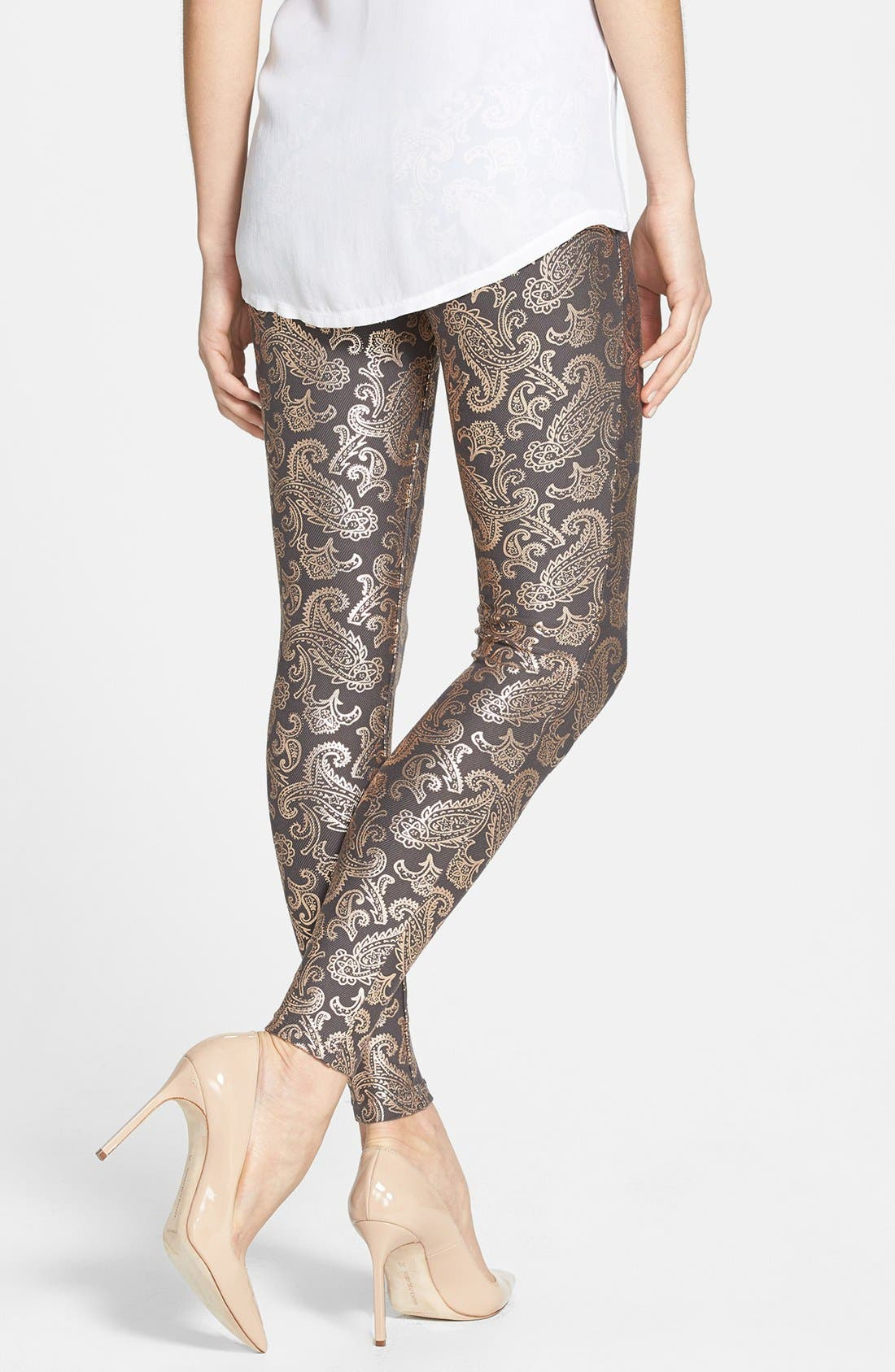 Alternate Image 2  - Hue Pearlized Brocade Jean Leggings