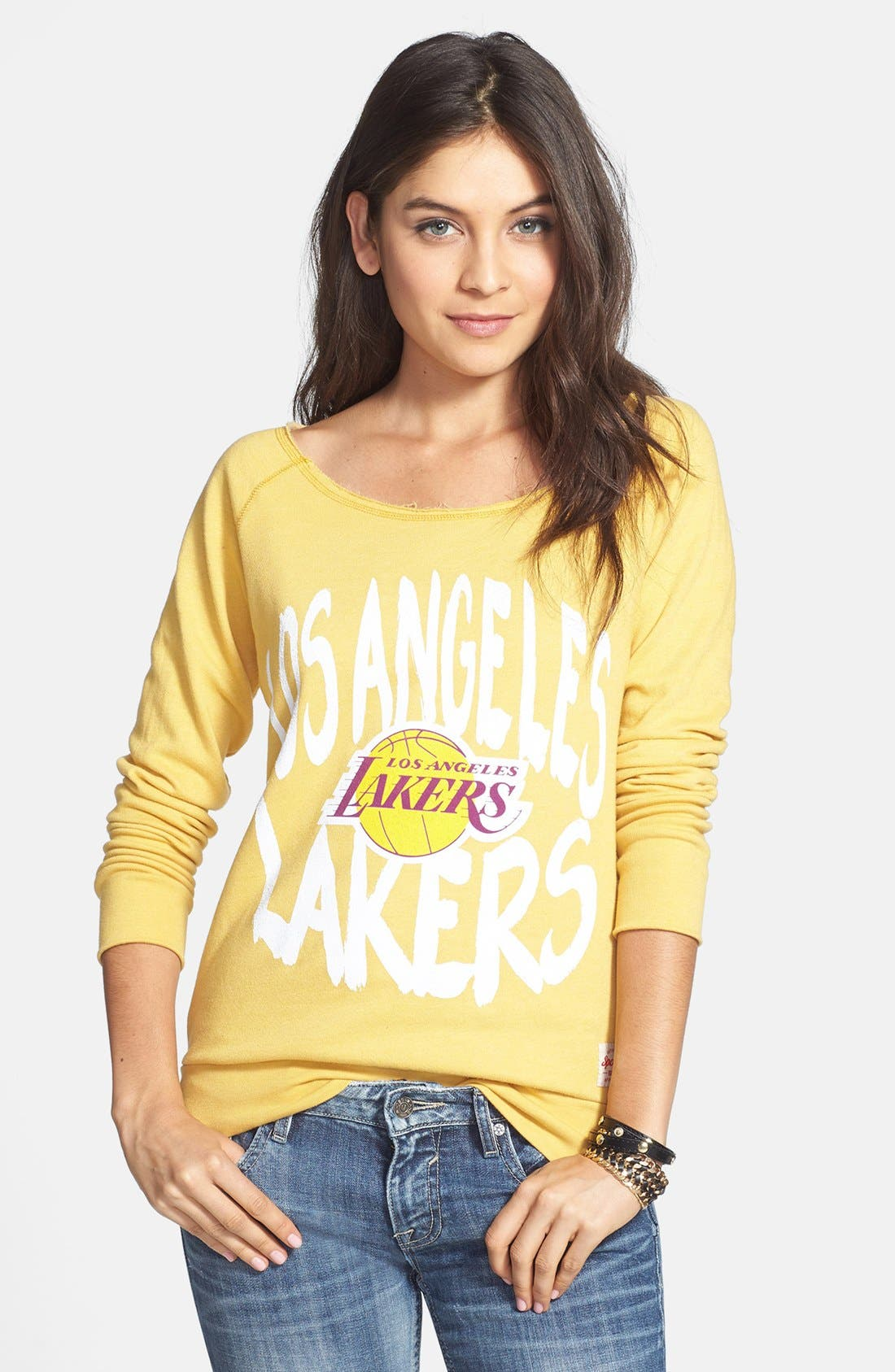 Main Image - Sportiqe 'Los Angeles Lakers' Wide Neck Fleece Sweatshirt (Juniors) (Online Only)