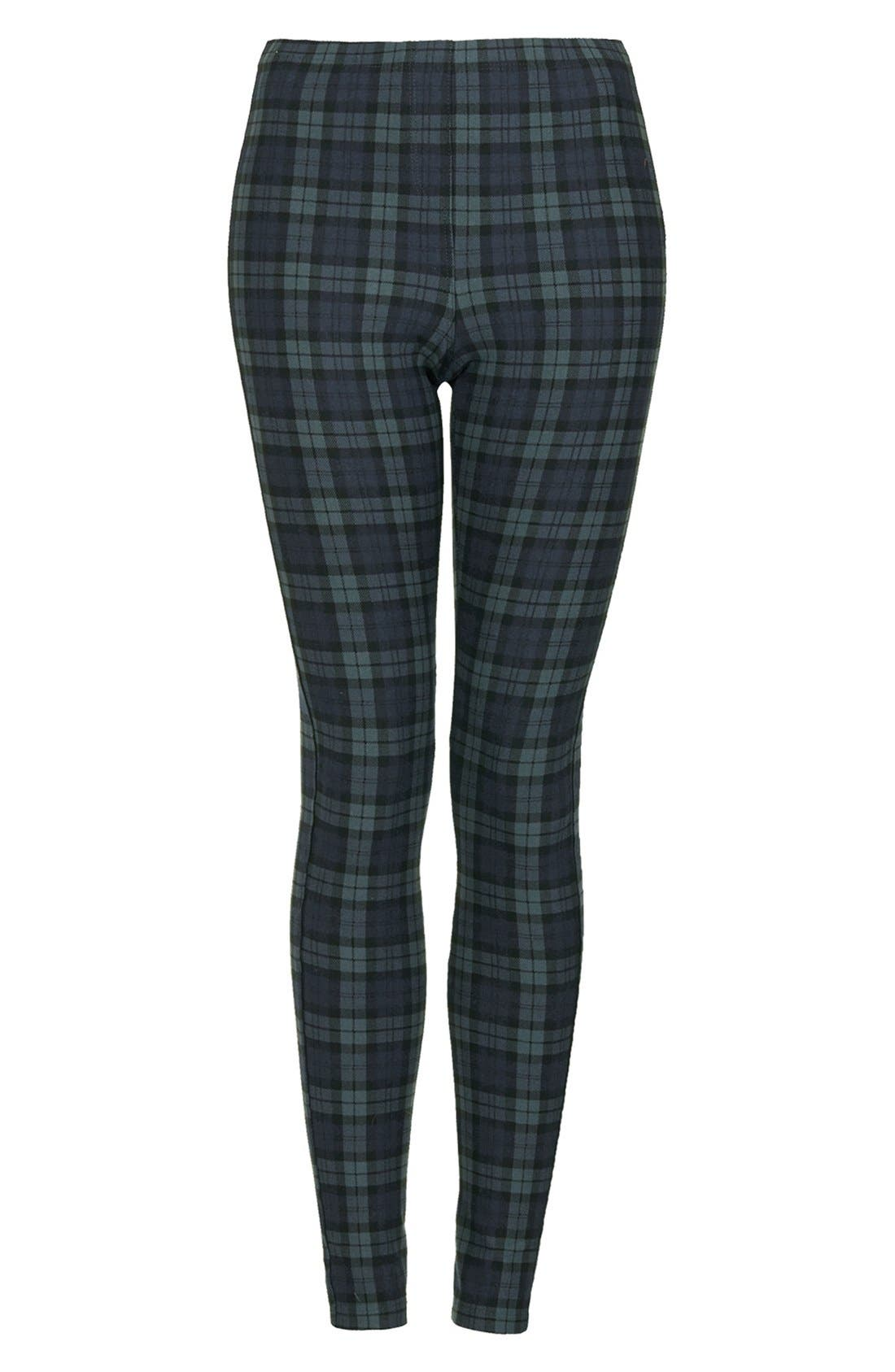 Alternate Image 3  - Topshop Checkered Denim Leggings