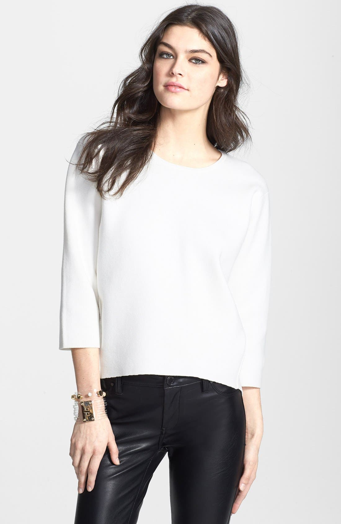 Main Image - Leith Structured Cotton Blend Pullover