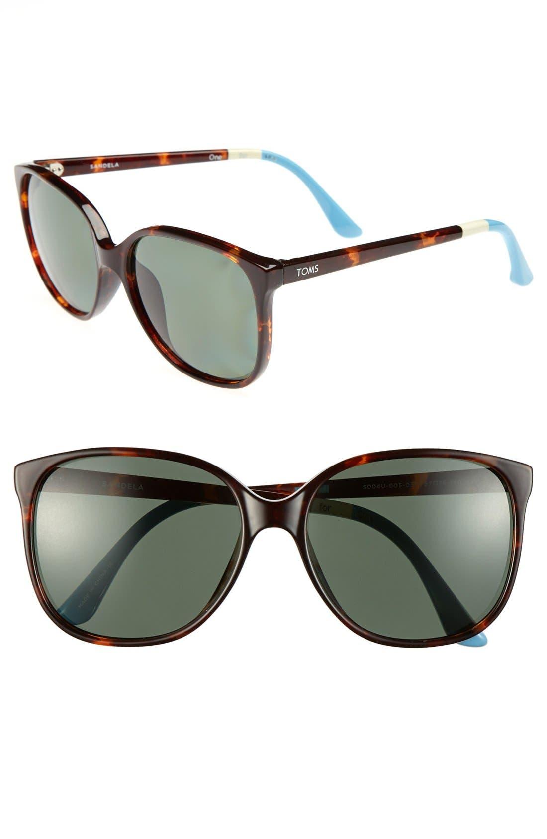 Alternate Image 1 Selected - TOMS 'Sandela' 57mm Polarized Sunglasses