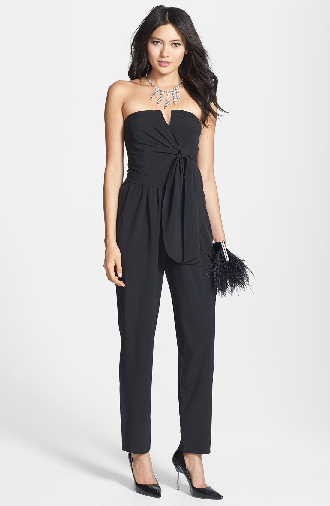 Main Image - Rules of Etiquette Tie Front Strapless Jumpsuit