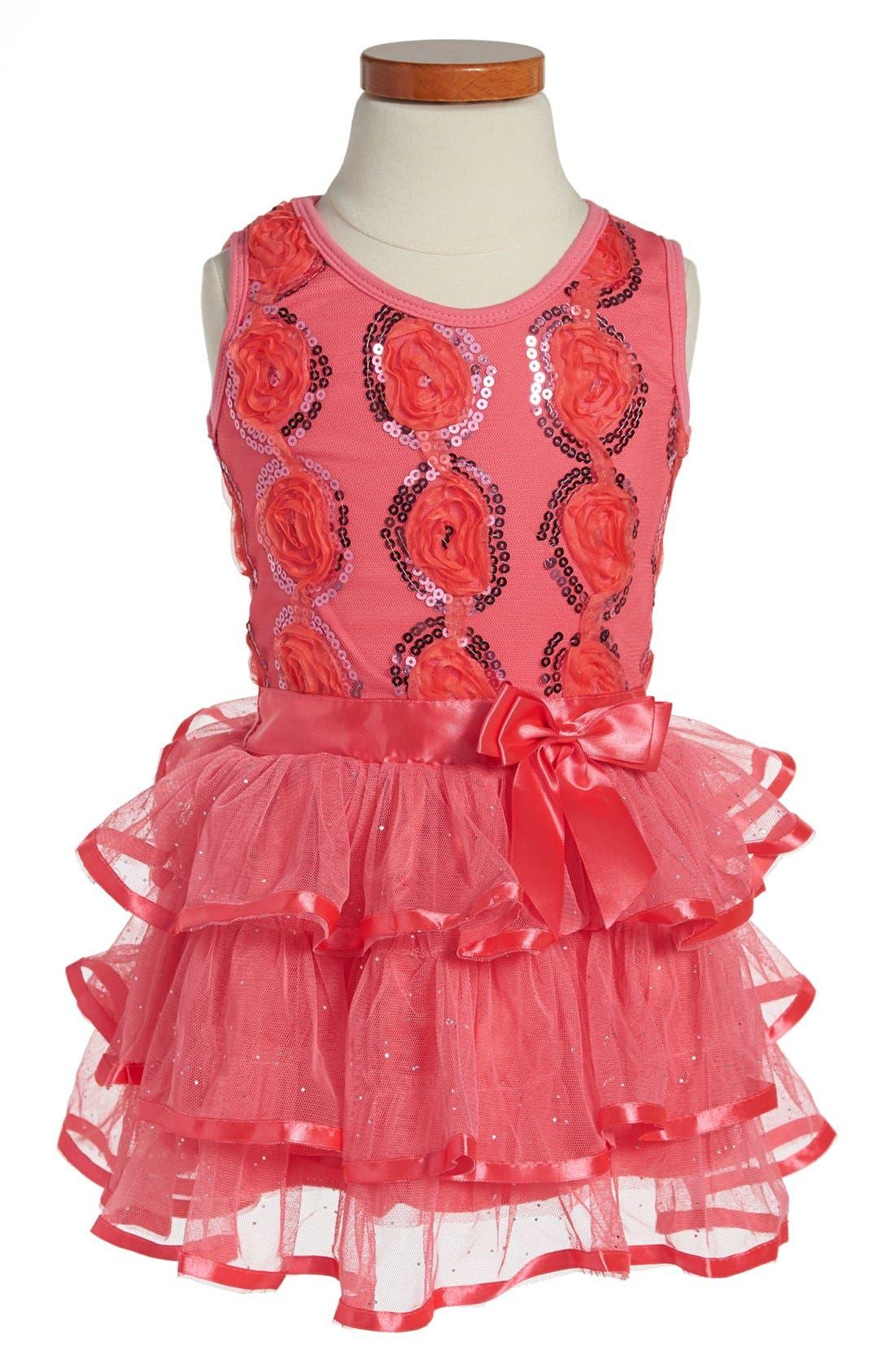 Alternate Image 1 Selected - Popatu Sequin Tiered Dress (Toddler Girls)