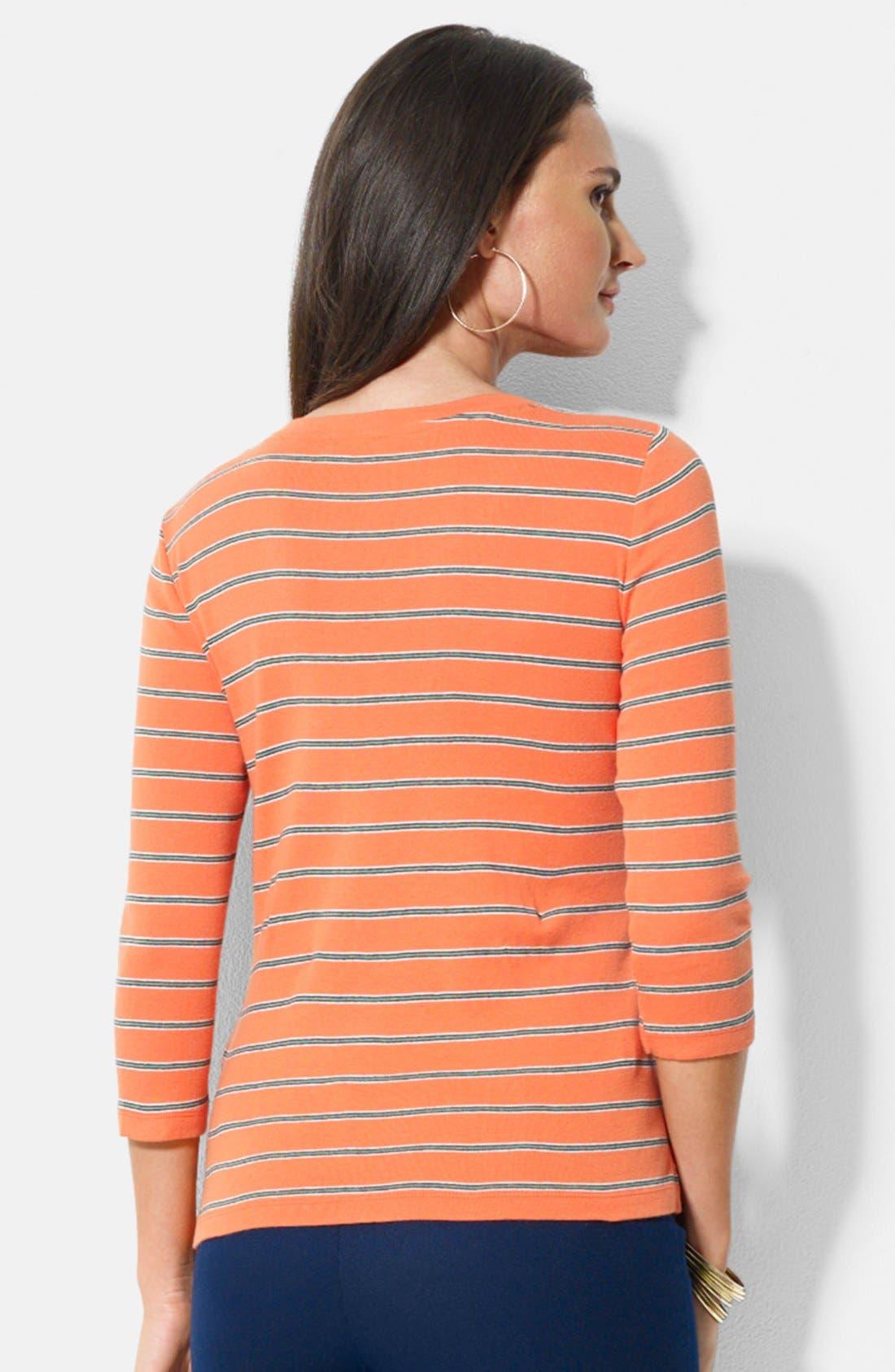 Alternate Image 2  - Lauren Ralph Lauren Snap Shoulder Stripe Cotton Top