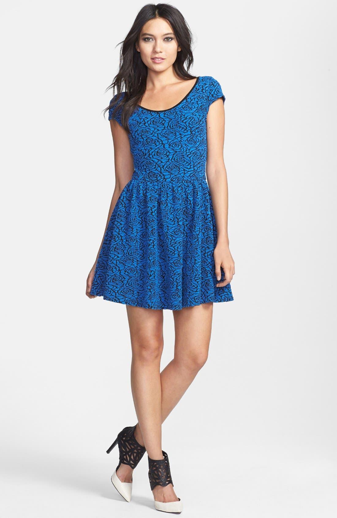 Alternate Image 1 Selected - Glamorous Cap Sleeve Jacquard Skater Dress