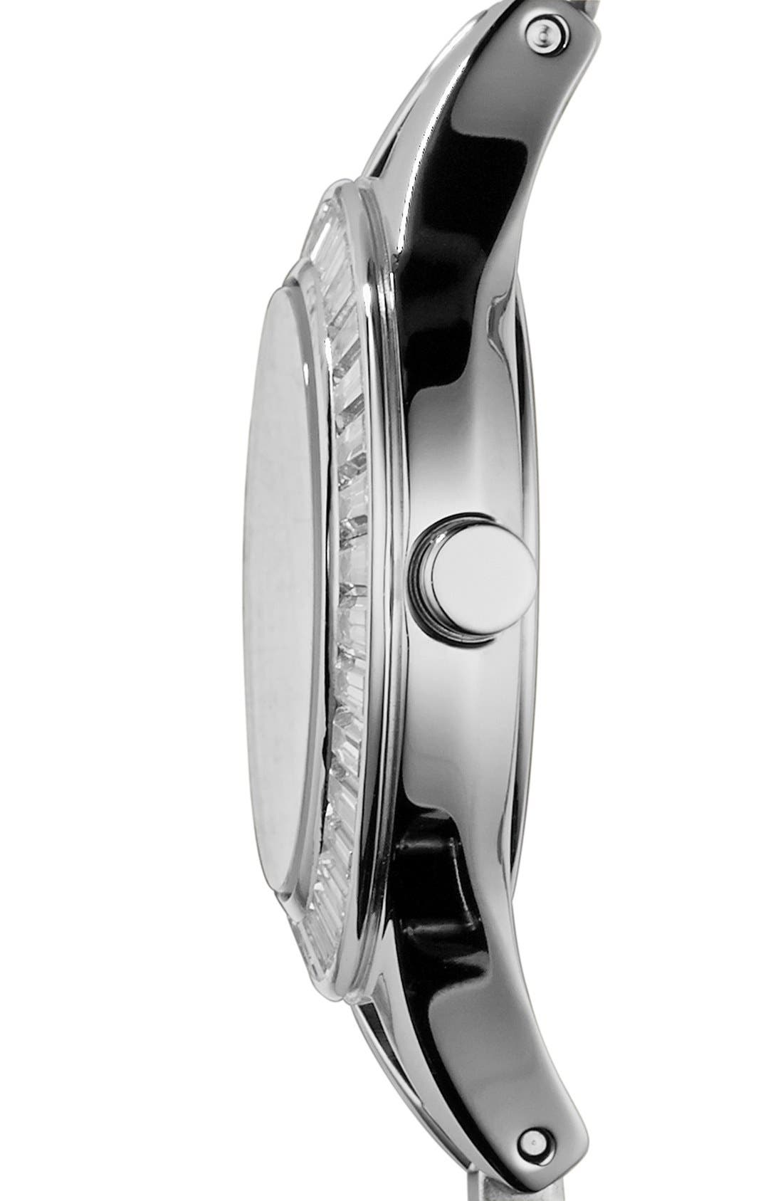 Alternate Image 3  - Emporio Armani Baguette Crystal Bezel Leather Strap Watch, 28mm