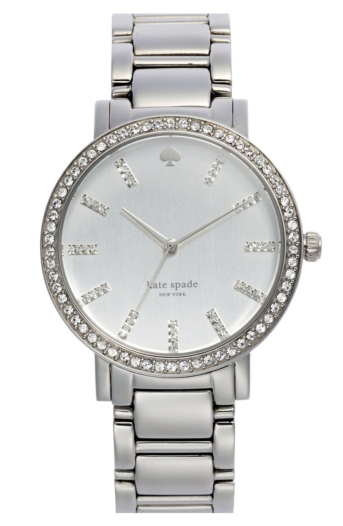 Main Image - kate spade new york 'gramercy grand' pavé bezel bracelet watch, 38mm