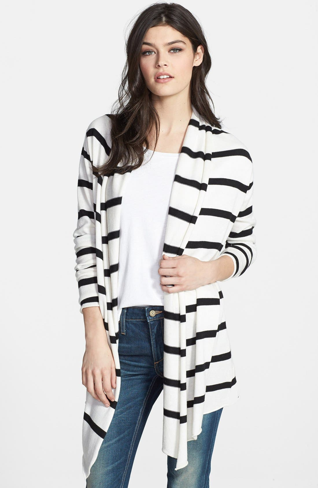 Main Image - Splendid Stripe Open Front Cardigan