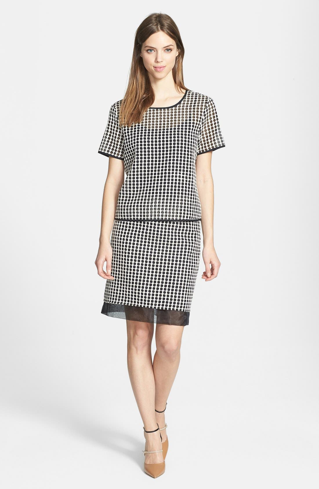 Alternate Image 4  - Vince Camuto Two-Tone Dot Print Organza Skirt