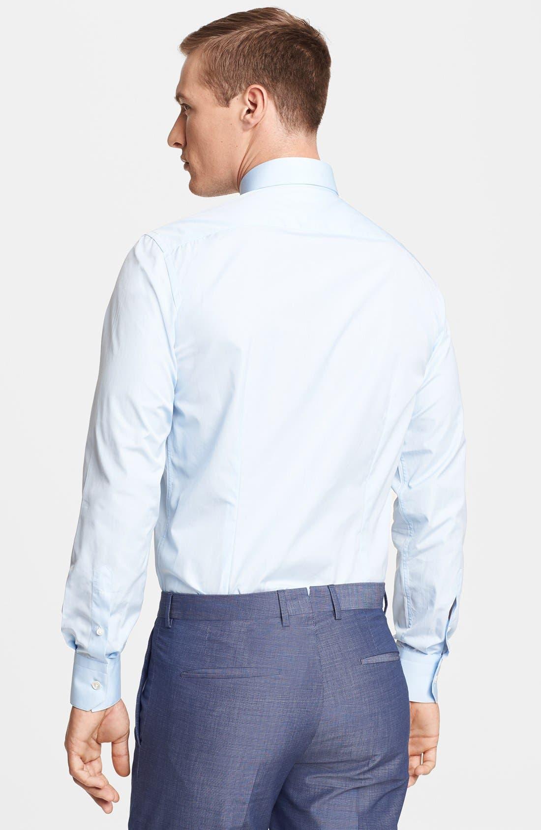 Slim Fit Poplin Dress Shirt,                             Alternate thumbnail 3, color,                             Blue