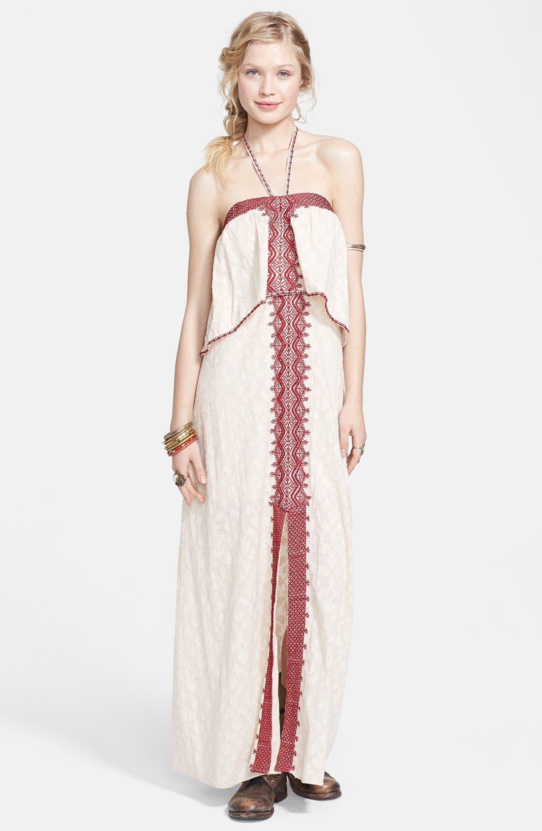Main Image - Free People 'Marrakesh' Lace Trim Jacquard Halter Maxi Dress