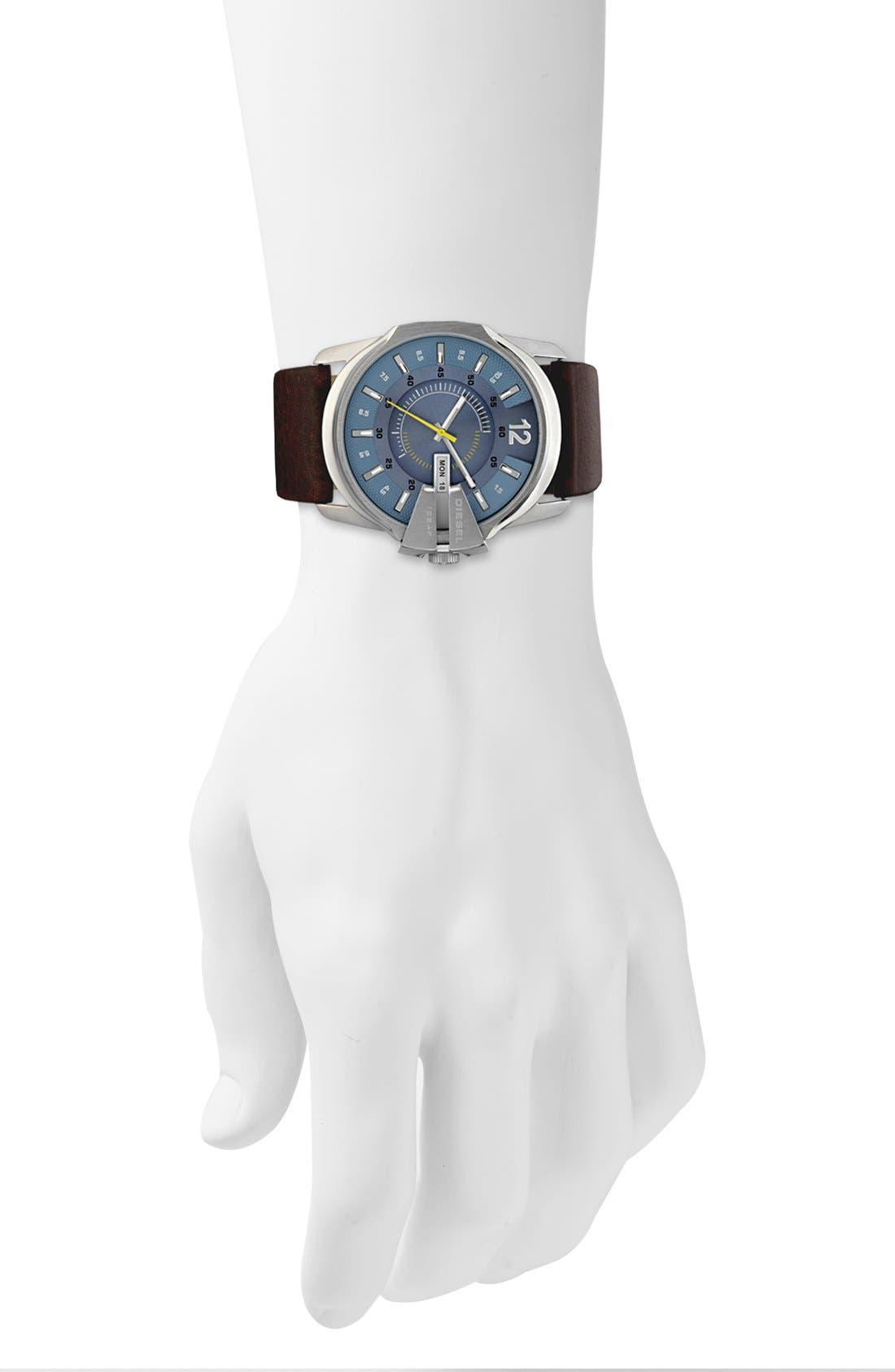 Alternate Image 2  - DIESEL® 'Master Chief' Leather Strap Watch, 45mm