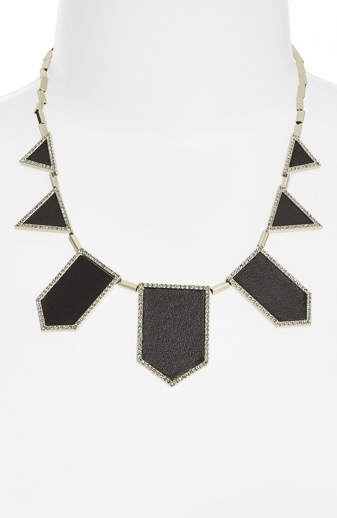 Main Image - House of Harlow 1960 Pavé Leather Bib Necklace