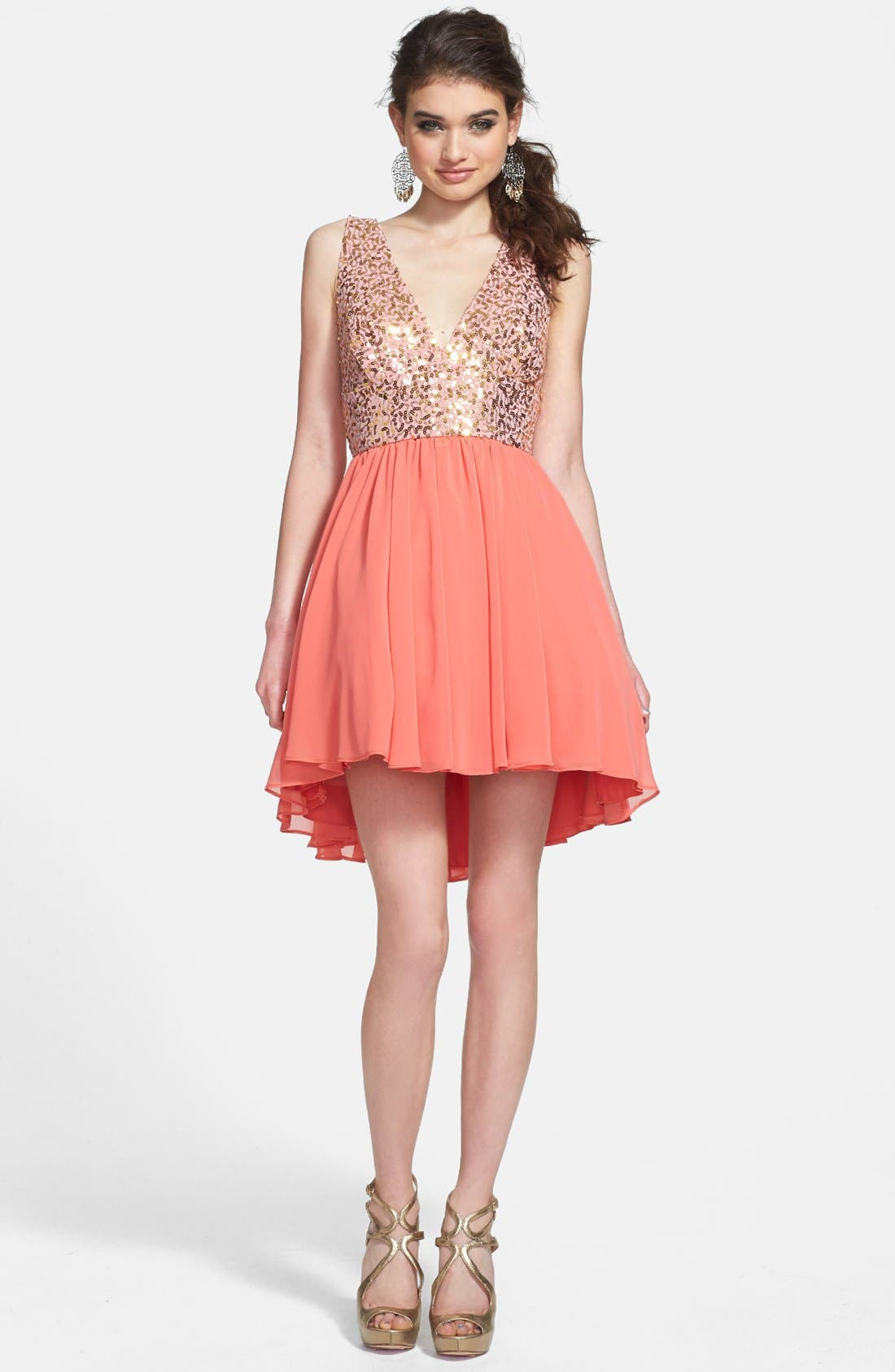 Main Image - Way-In Sequin Bodice Fit & Flare Dress (Juniors)
