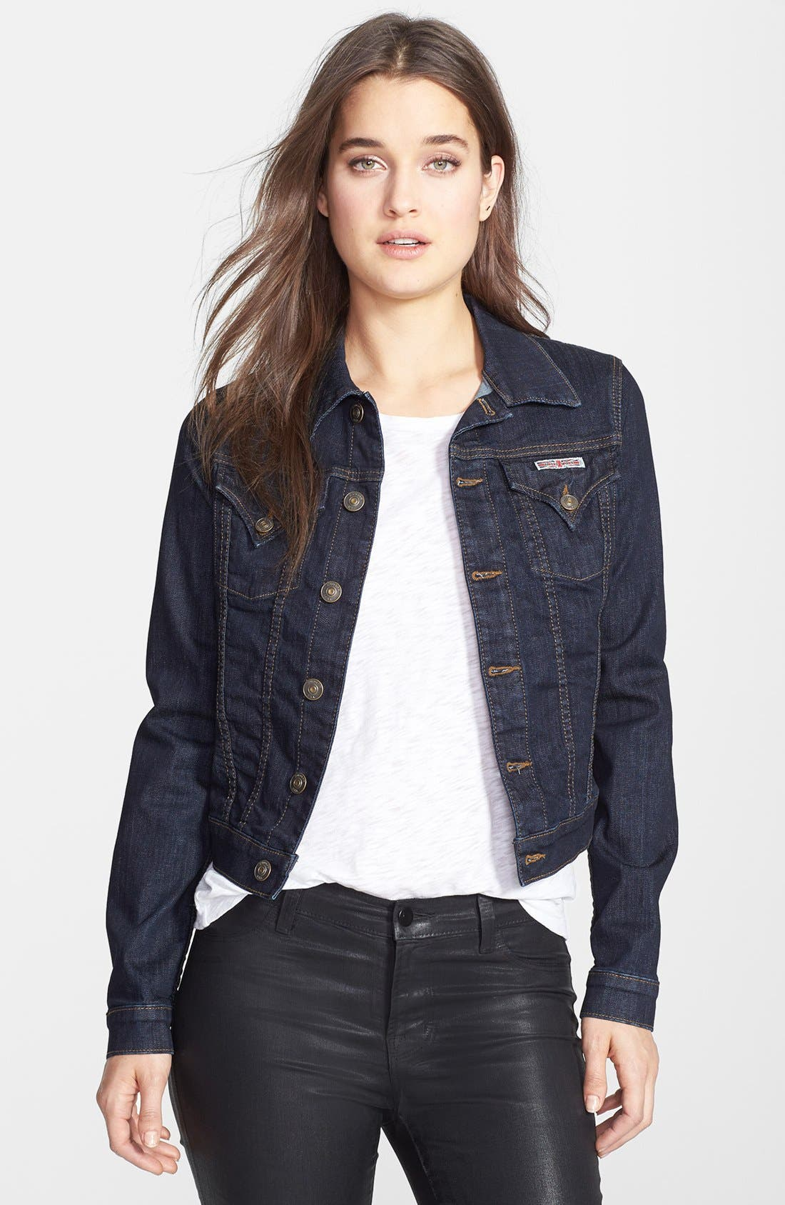 Alternate Image 1 Selected - Hudson Jeans Stretch Denim Jacket (Rinse)