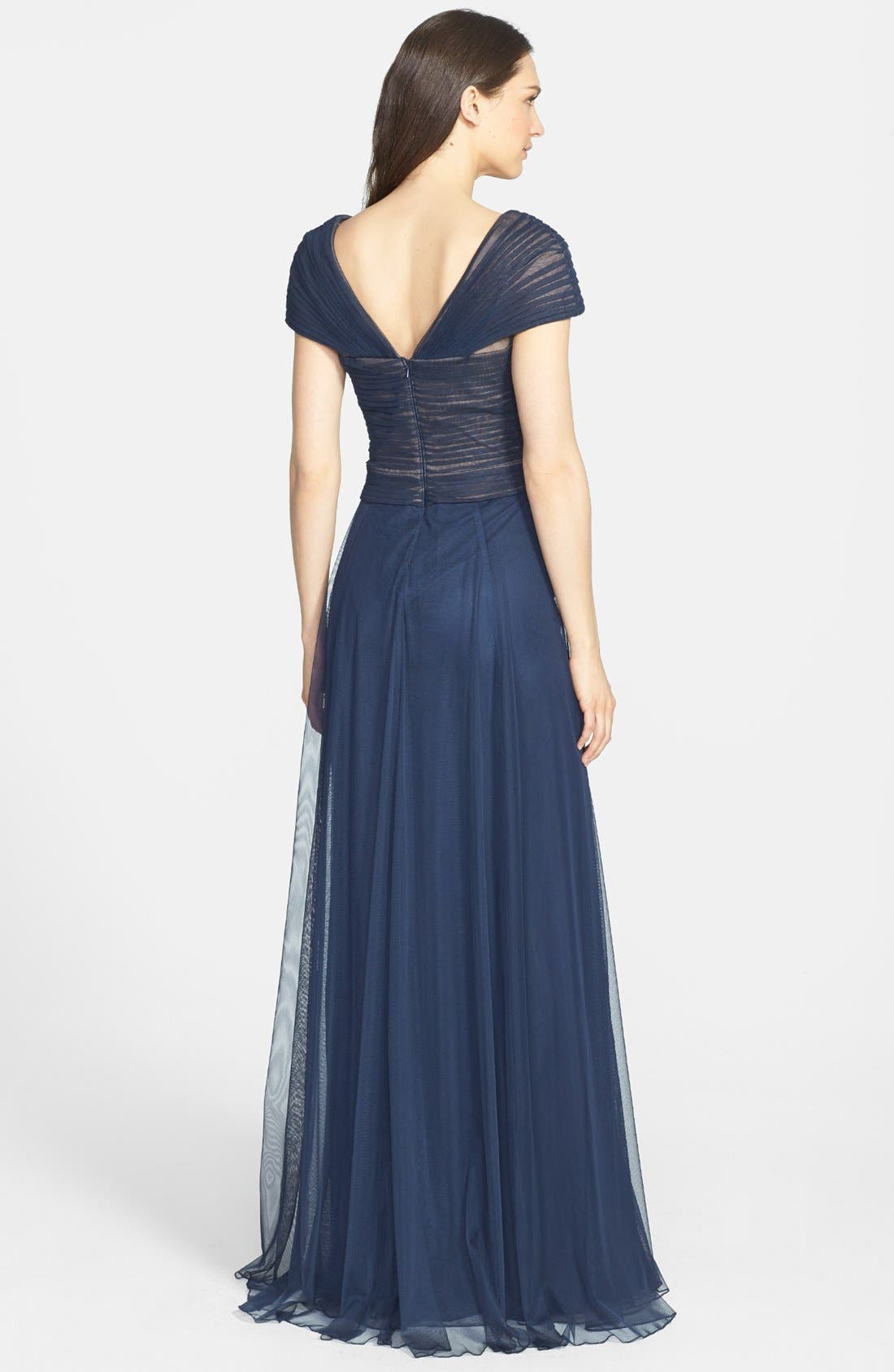 Portrait Collar Pleated Mesh Gown,                             Alternate thumbnail 2, color,                             Navy/ Navy
