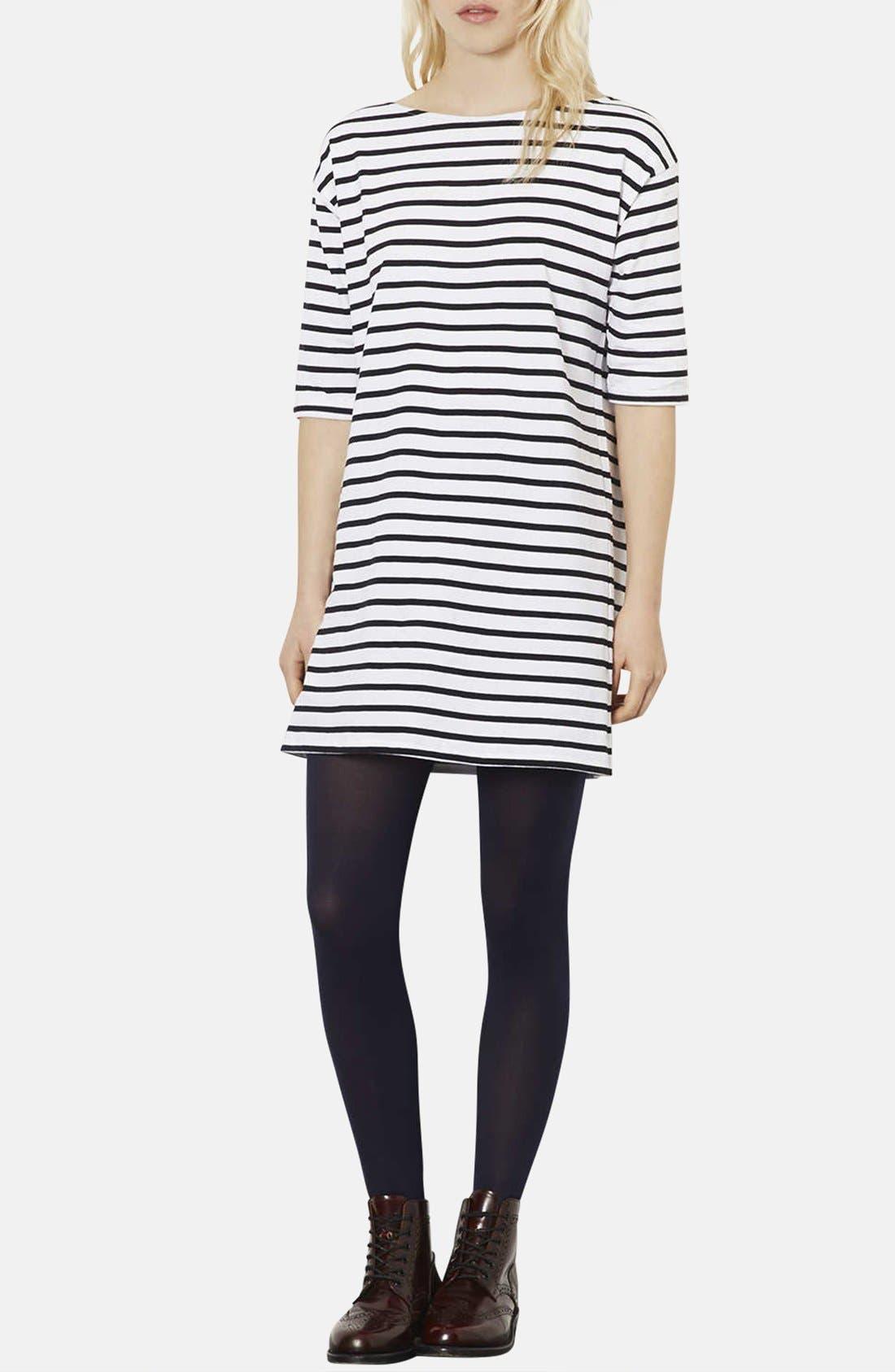Stripe Cotton Tunic Dress,                         Main,                         color, Black